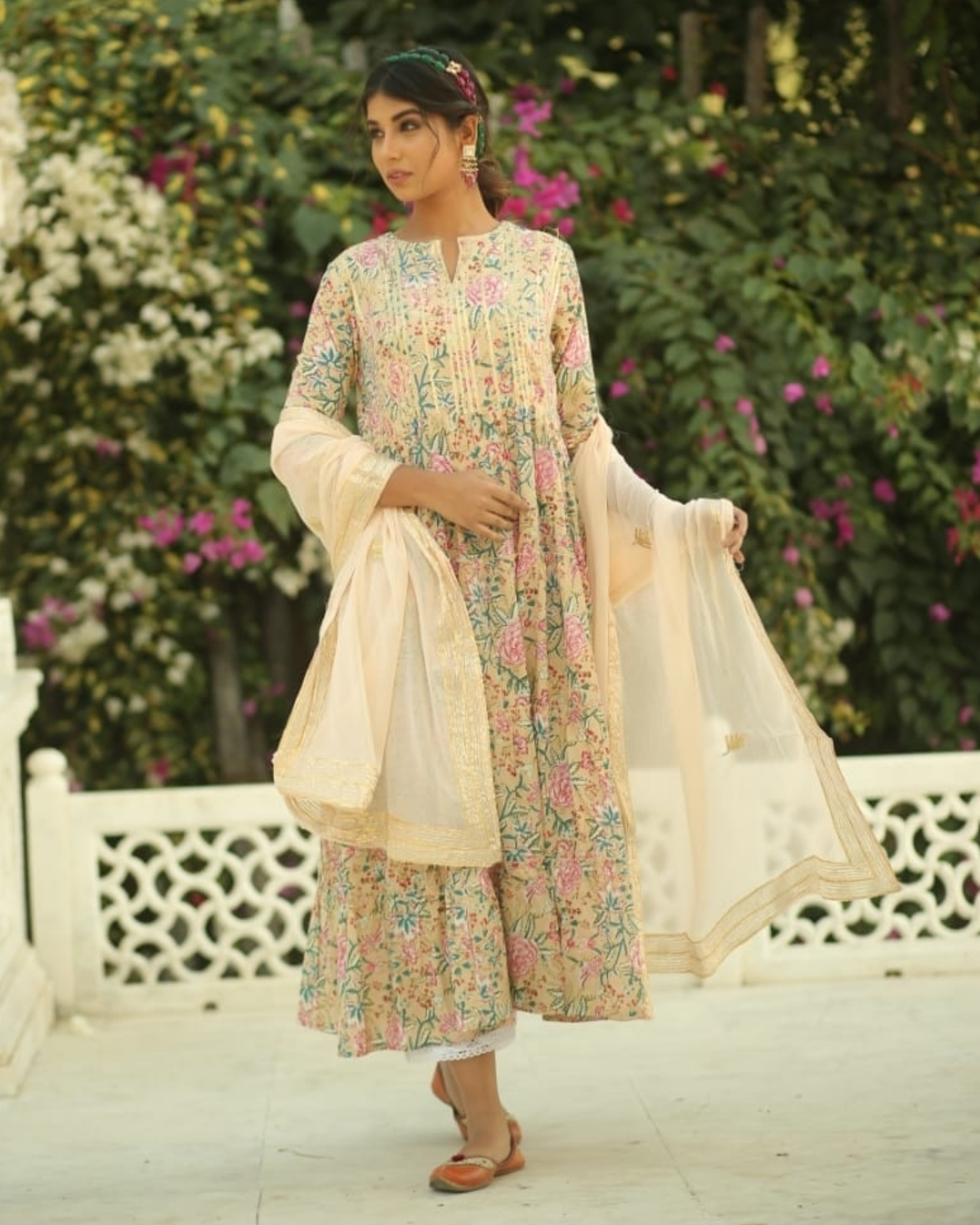 Light beige and pink floral gathered kurta and pants with dupatta set- set of three
