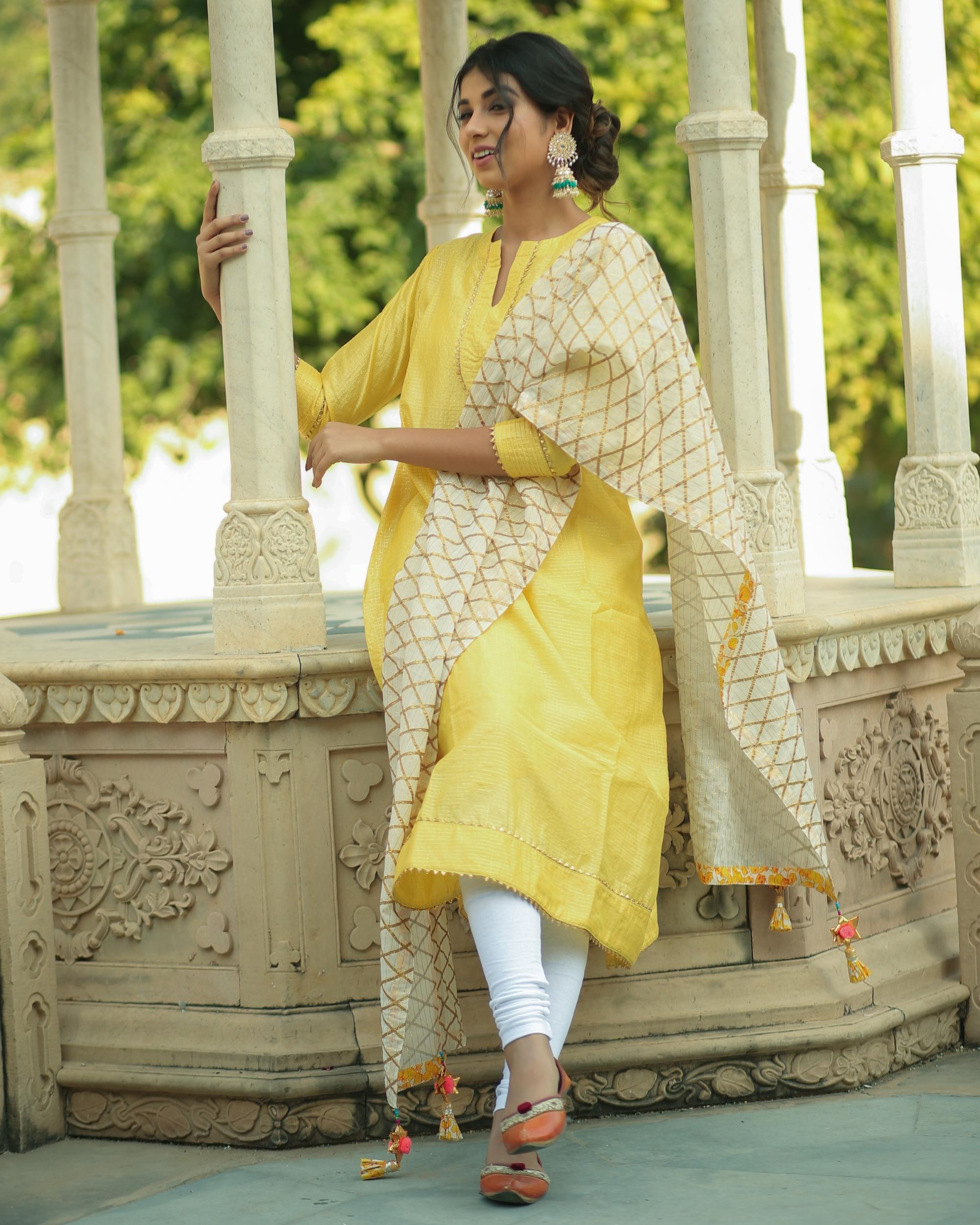 Yellow checkered chanderi kurta and pants with dupatta- set of three
