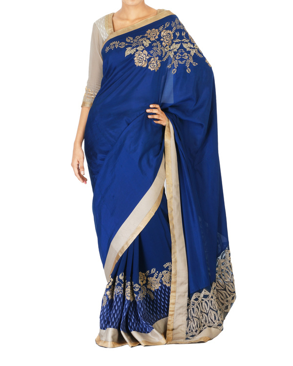 Embroidered navy blue sari