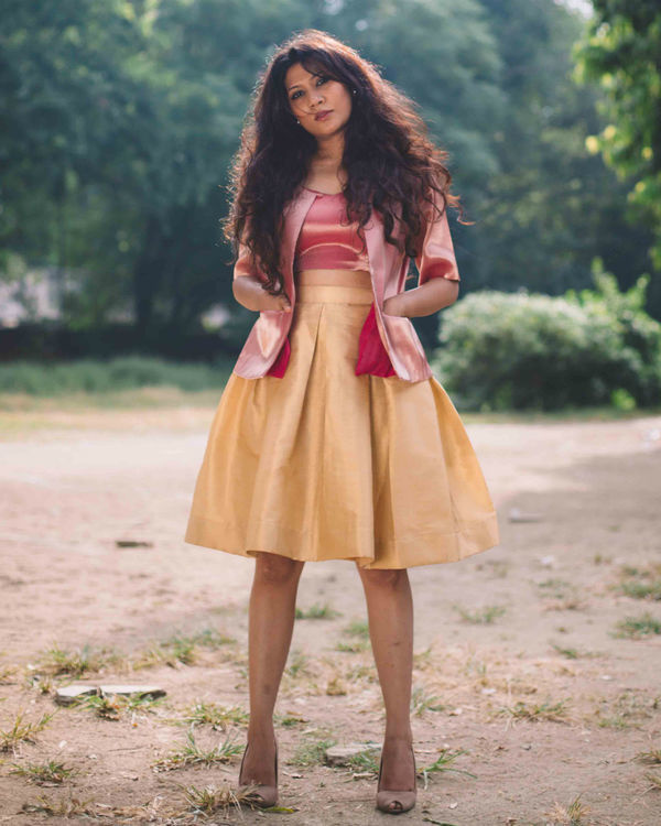 Gold brocade skirt with pink crop top