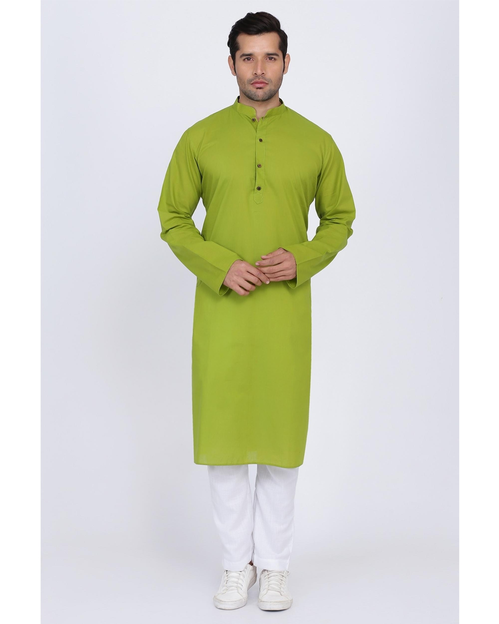 Lawn green cotton kurta
