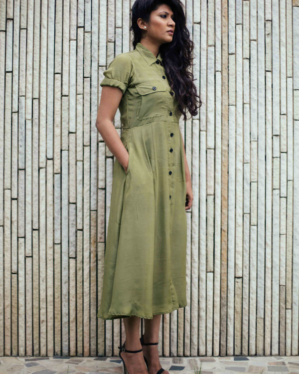 Military green crepe dress