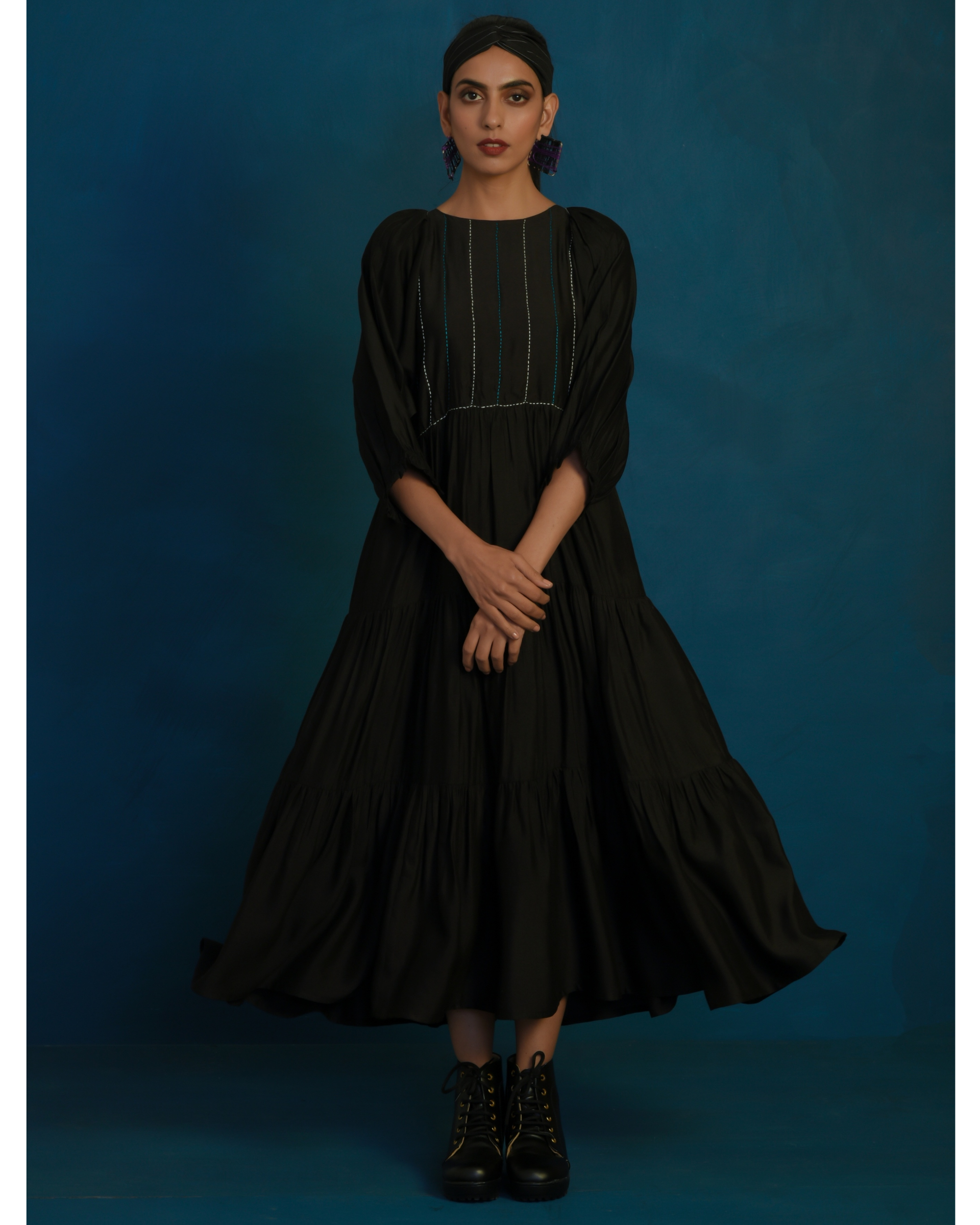Black tiered maxi dress with stitch embroidery