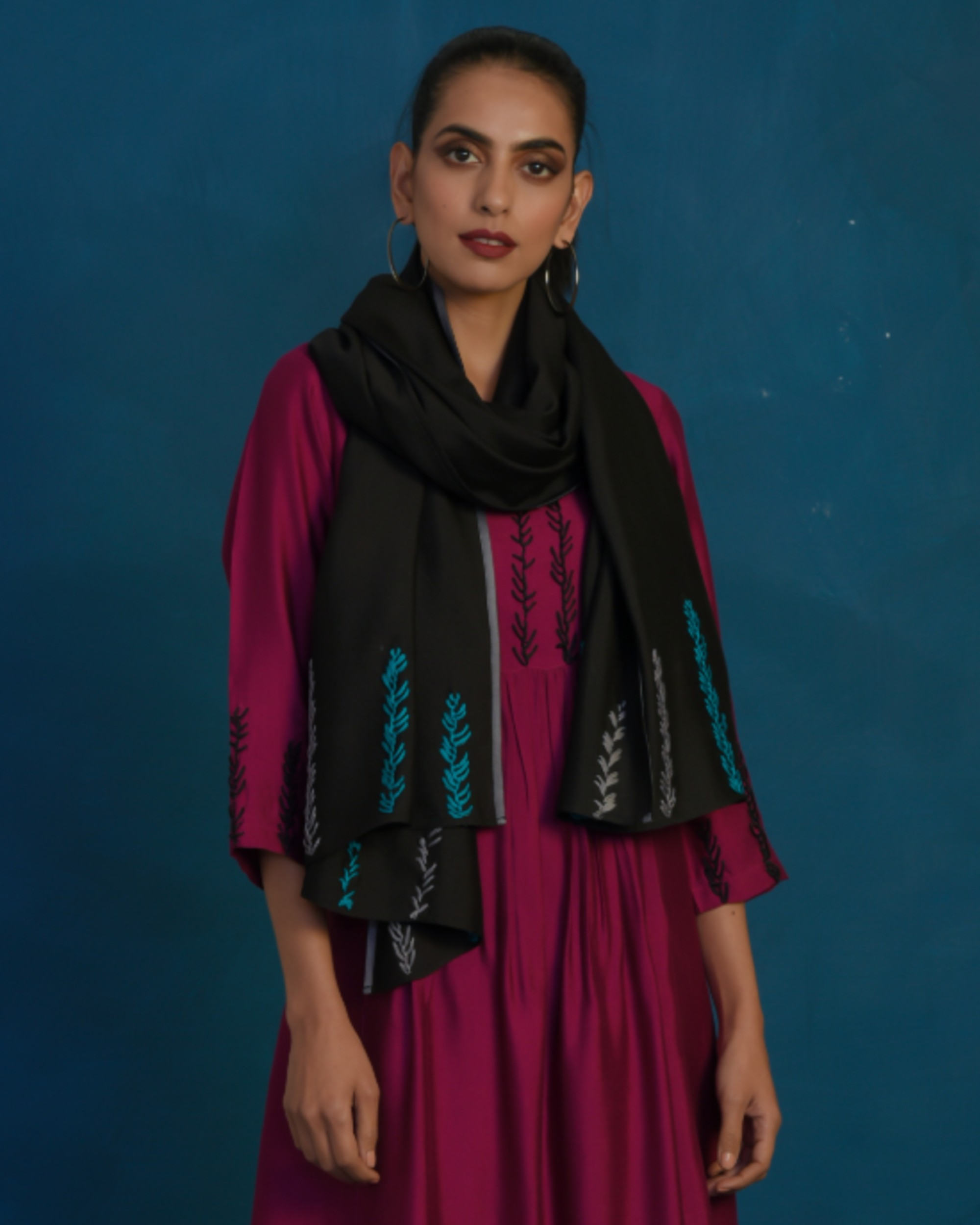 Black hand embroidered stole