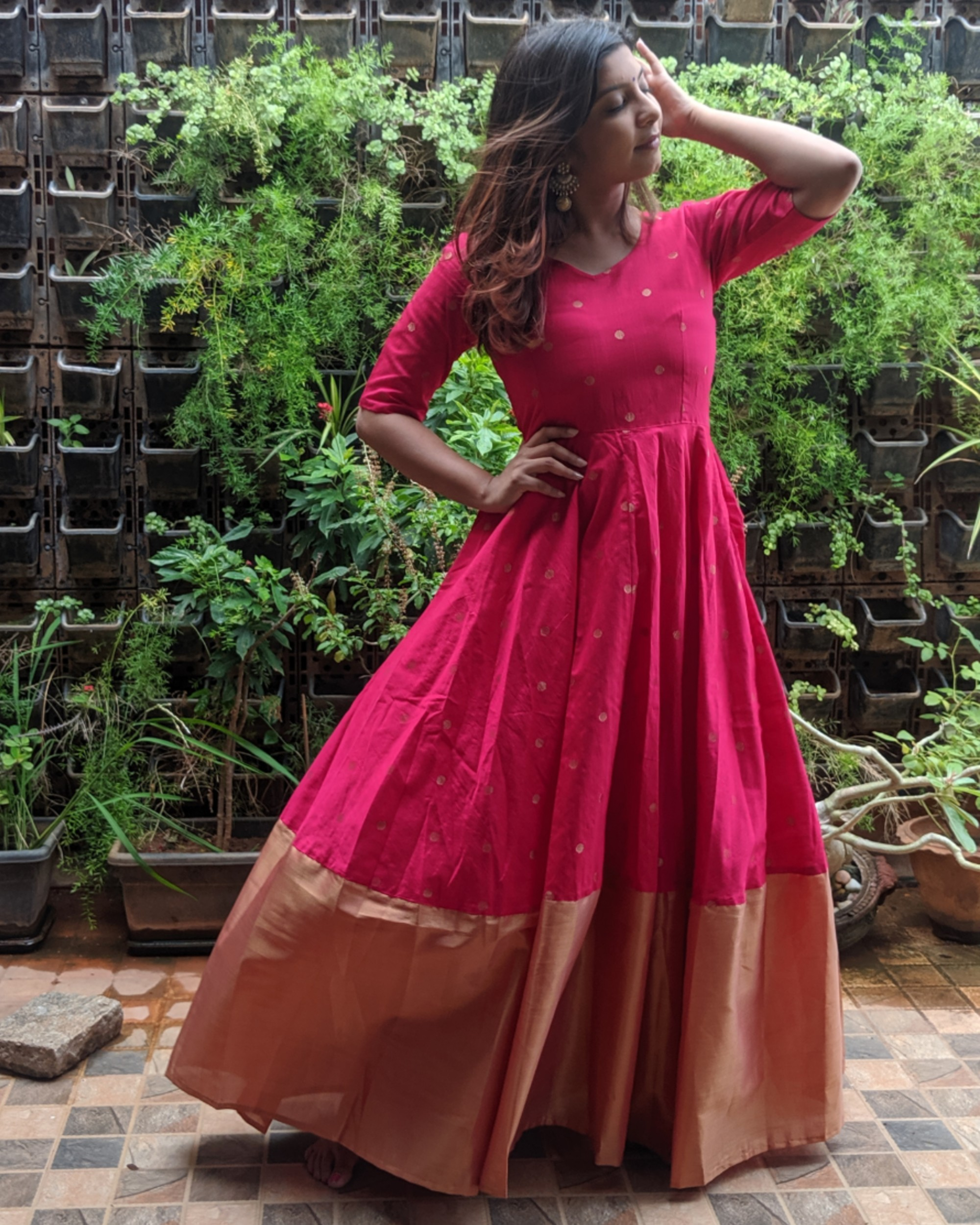 Magenta pink and gold butta anarkali dress