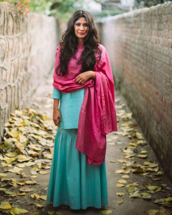 Turquoise blue cotton kurta and gharara set