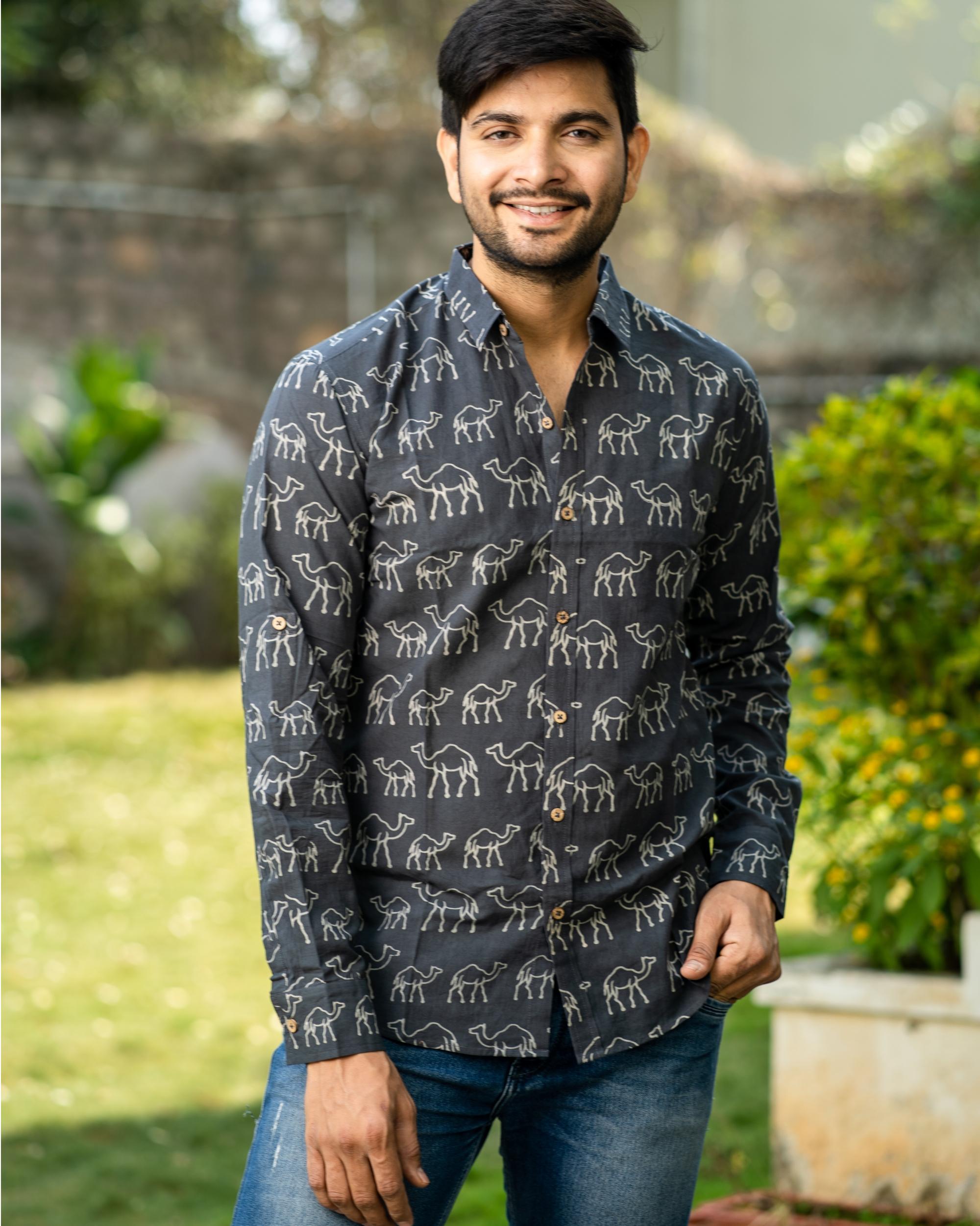 Shadow grey camel hand block printed shirt