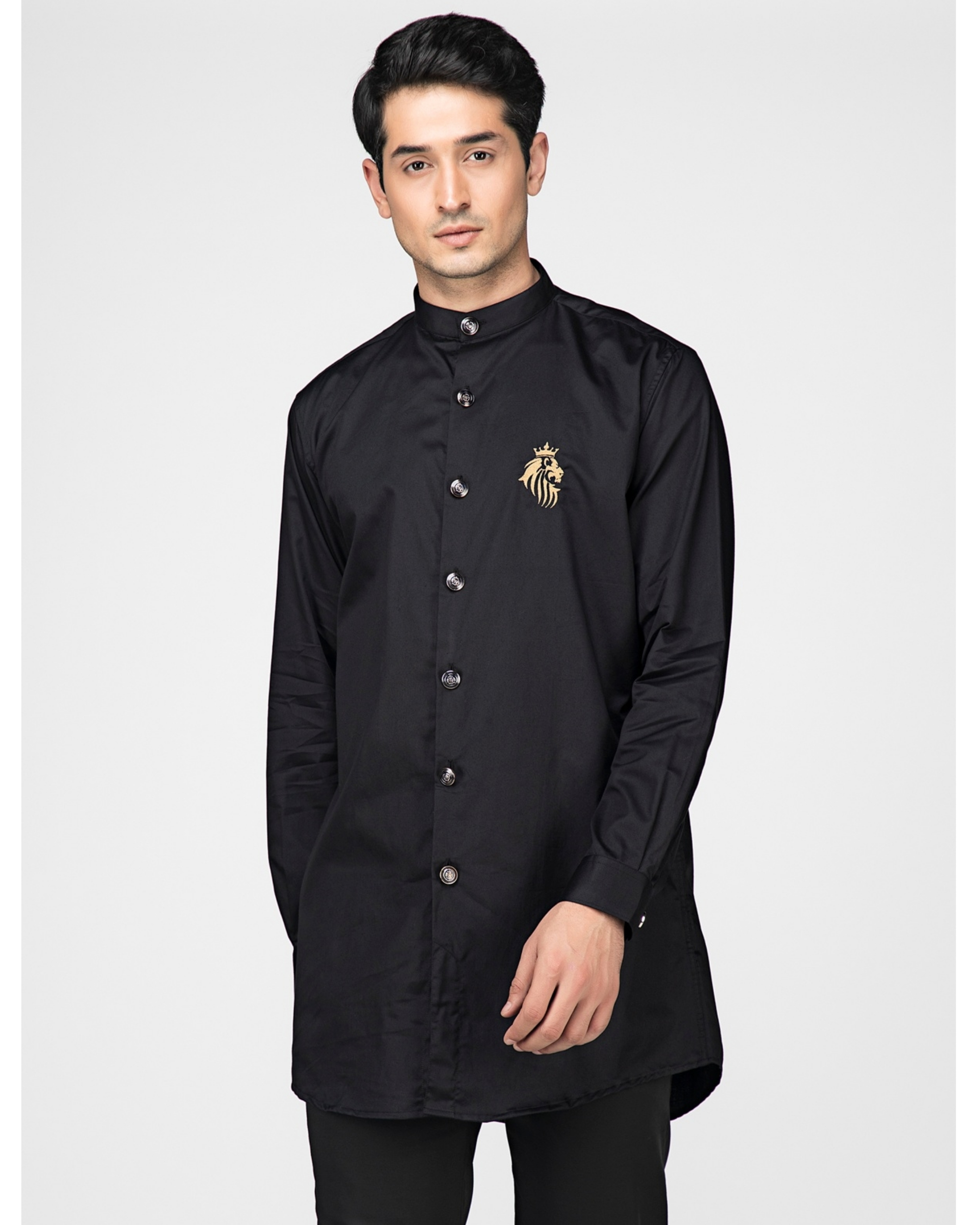 Black cotton satin leo kurta