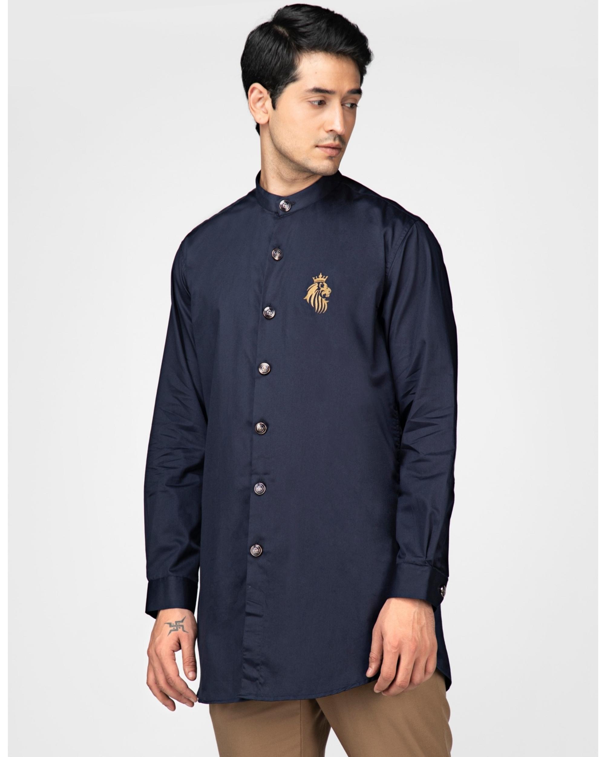 Navy blue cotton satin leo kurta