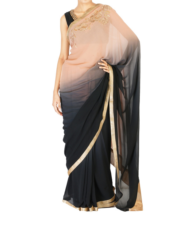 Ombre dyed blush and black rose embroidered sari