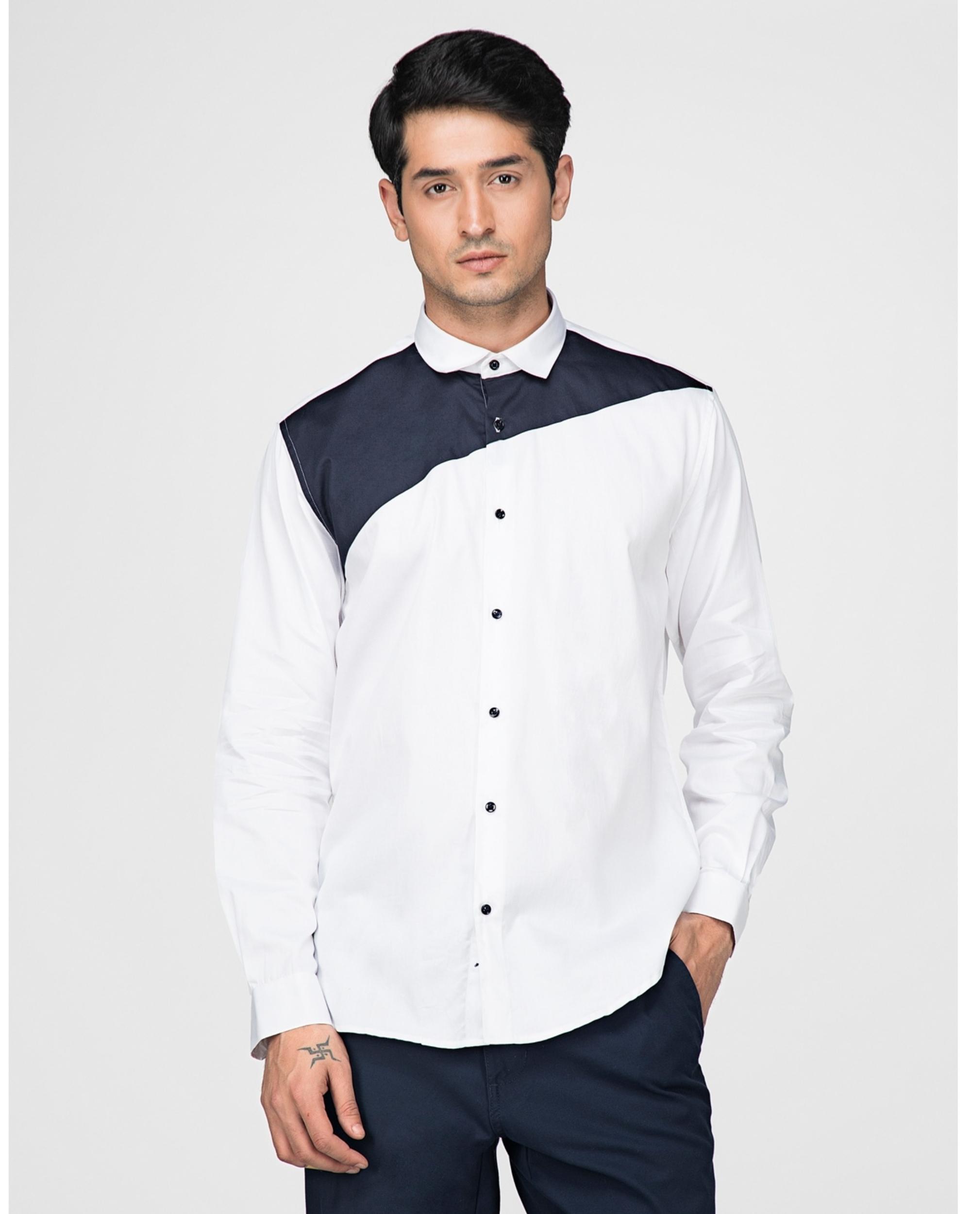 White and navy blue trigon paneled shirt