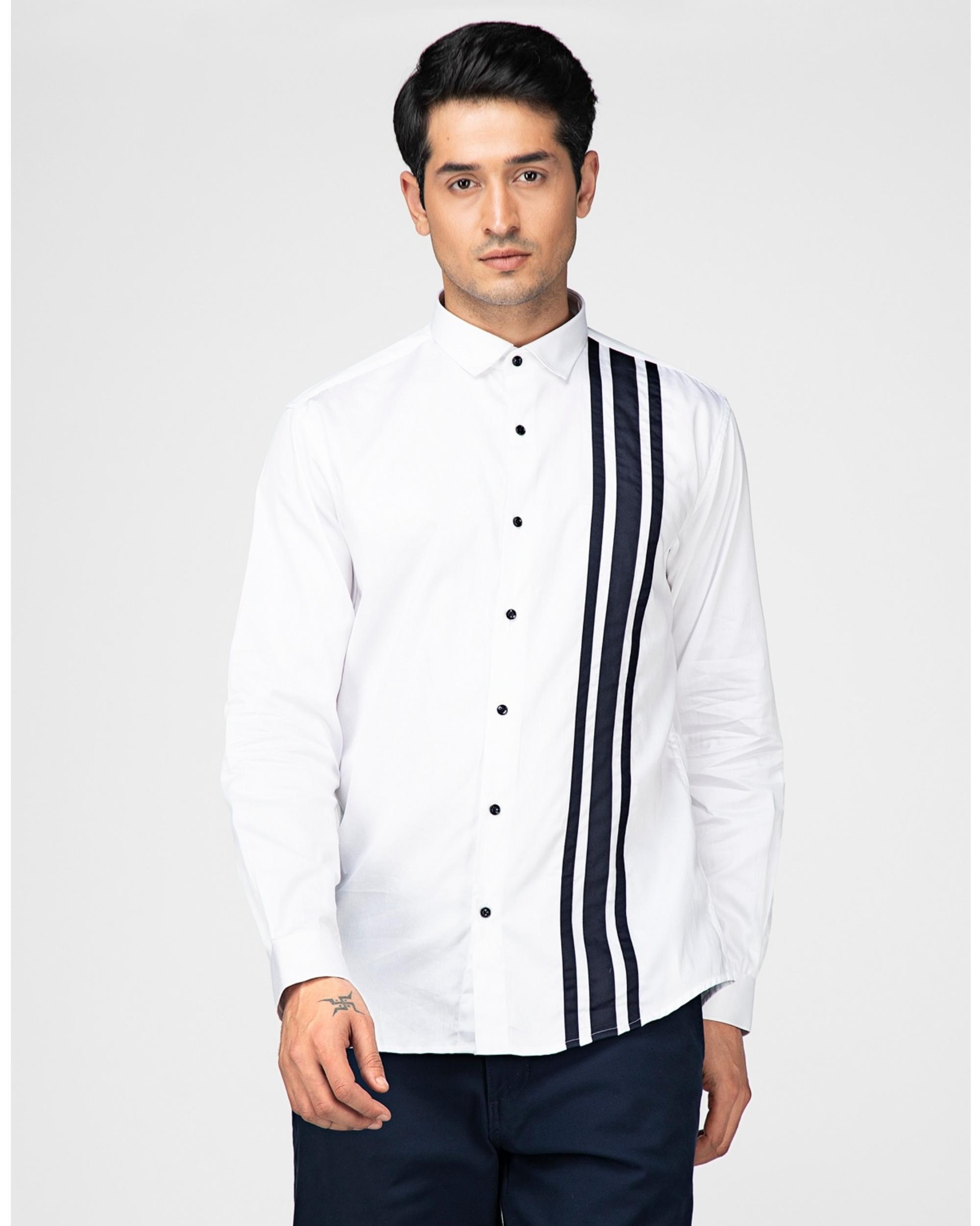 White and black tri panels striped shirt