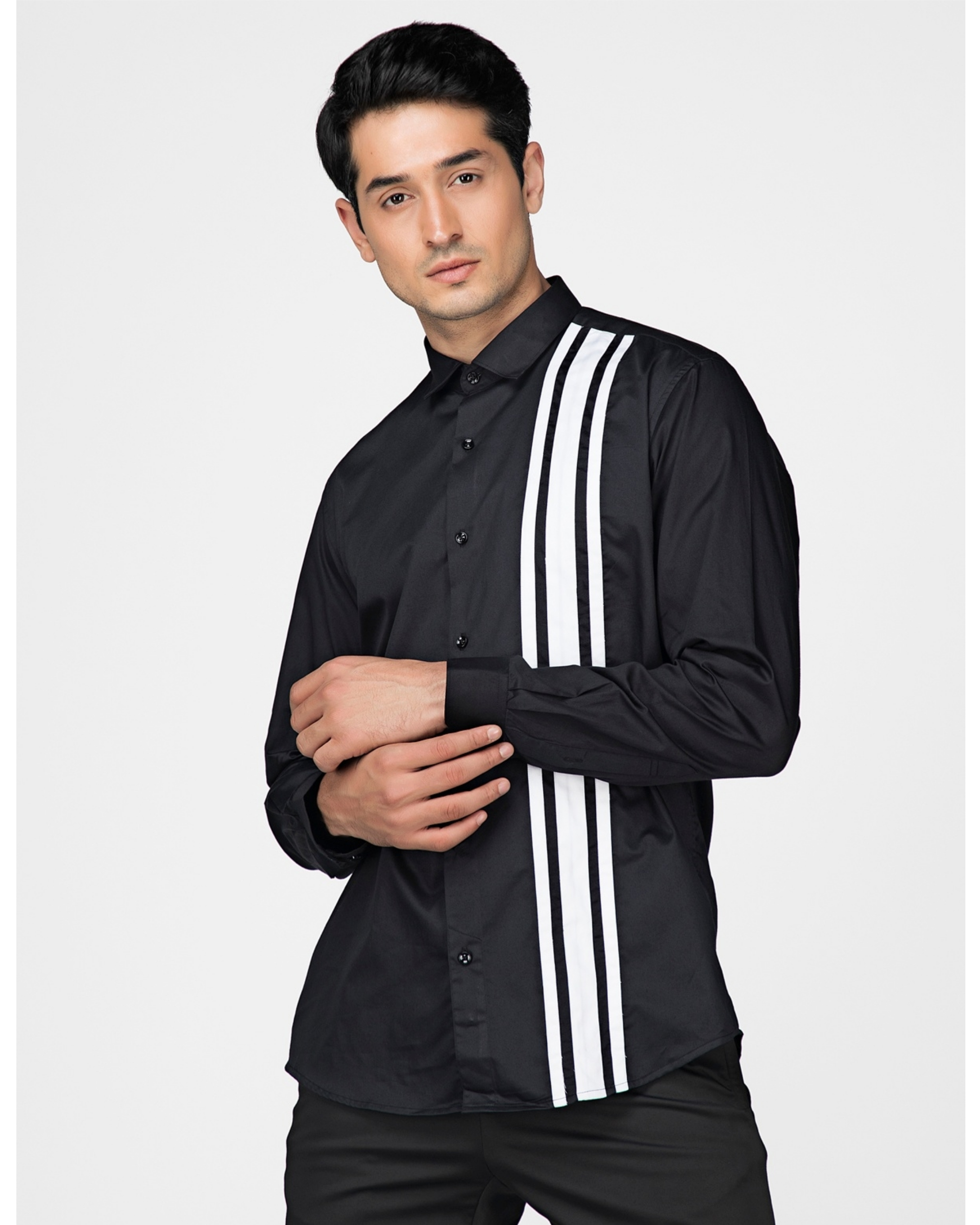 Black and white tri panels striped shirt
