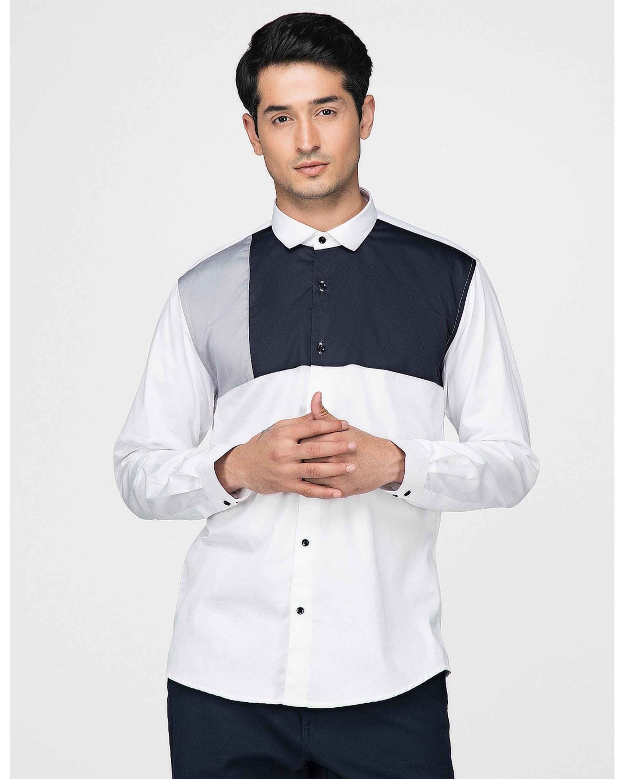 White and navy blue block paneled shirt