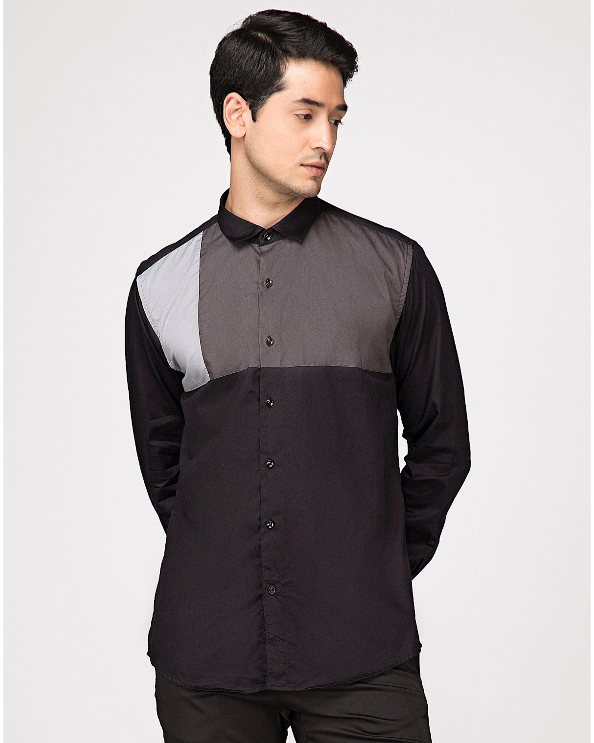 Black and grey block paneled shirt