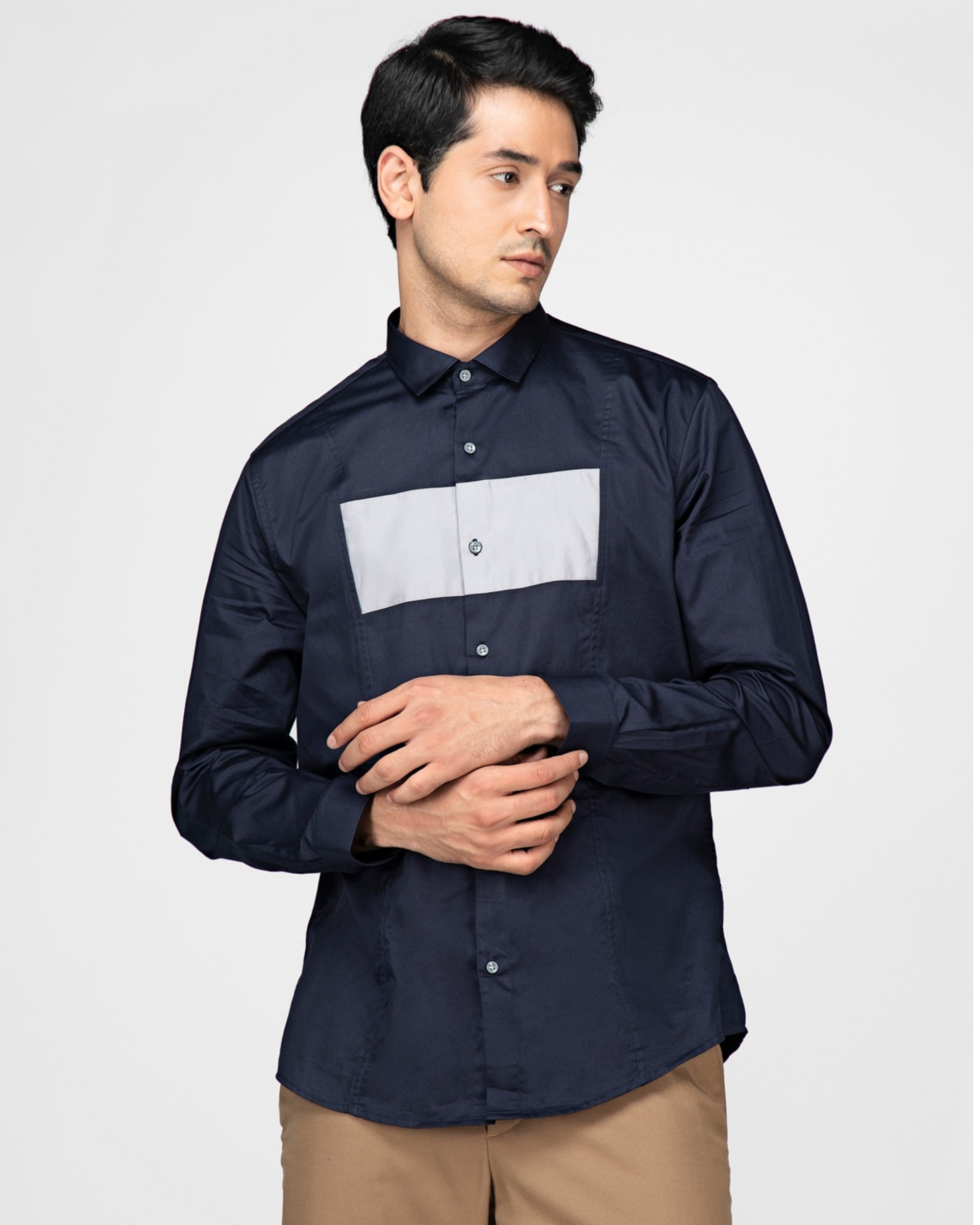 Navy blue and white rectangle paneled shirt