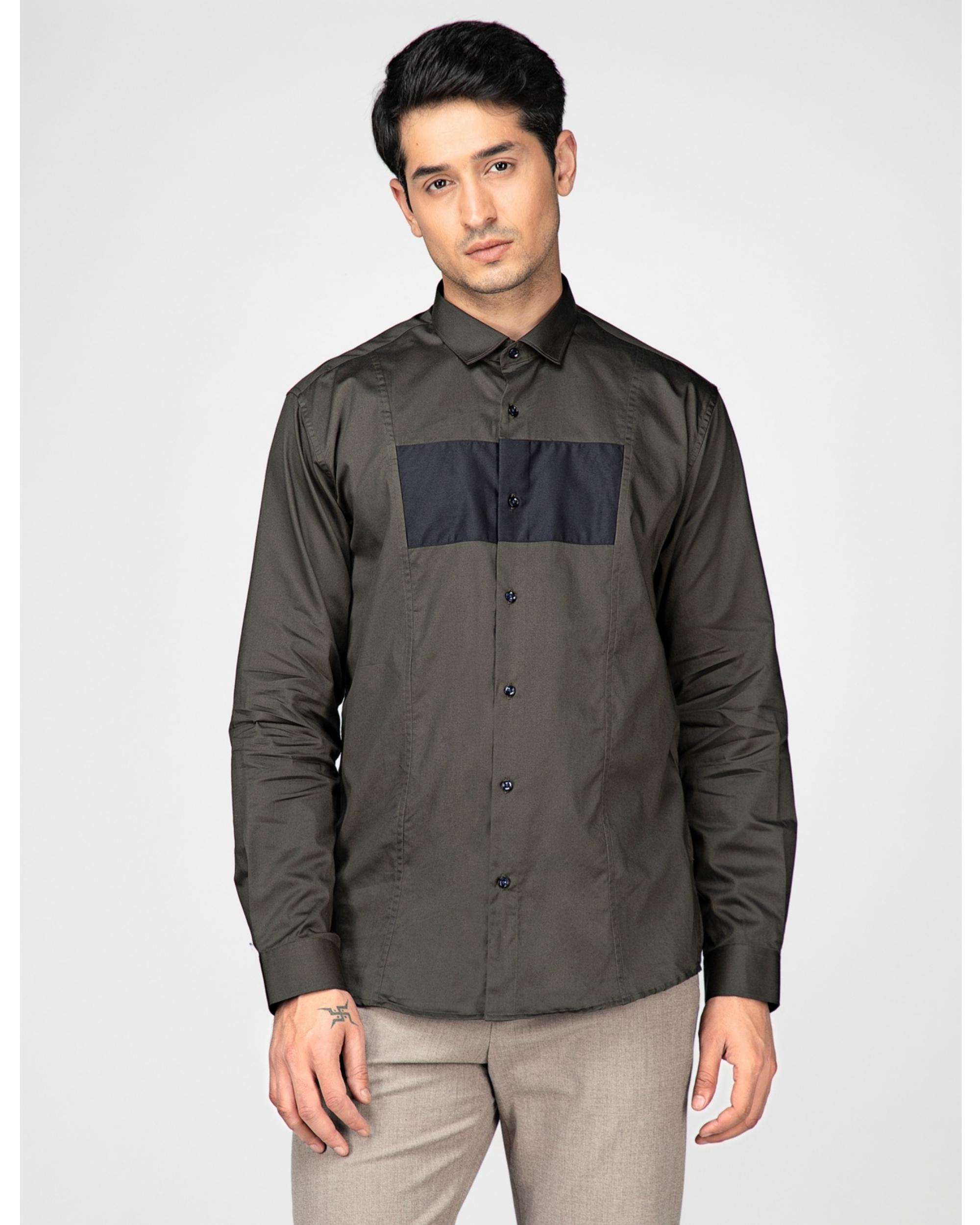 Olive rectangle paneled casual shirt