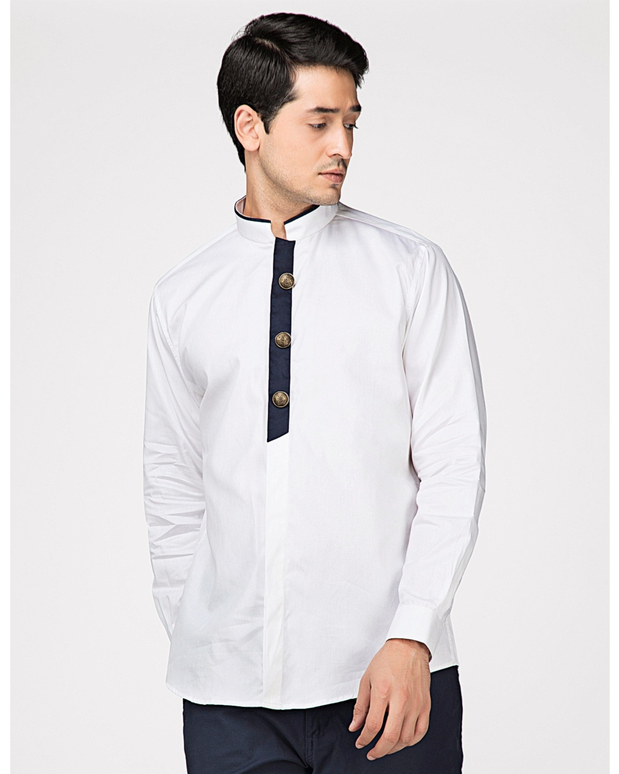 White ethnic shirt with contrast panel detailing