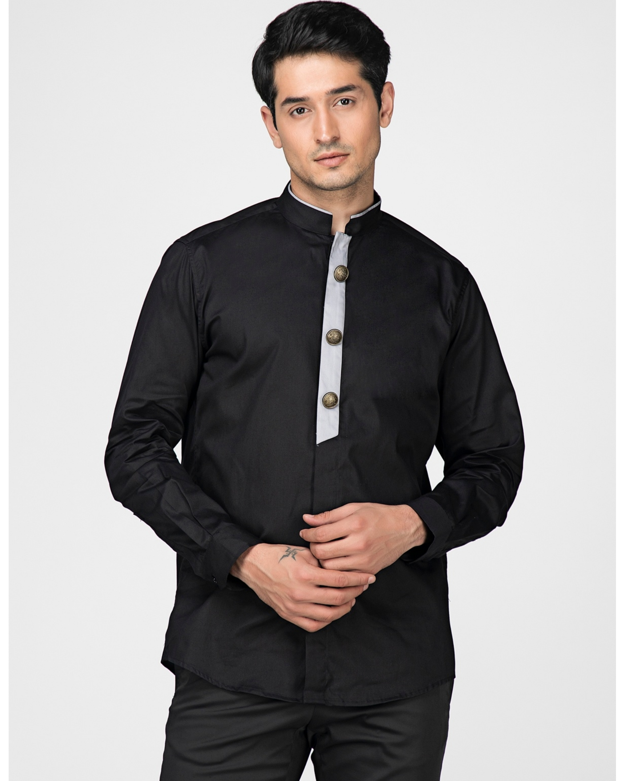 Black ethnic shirt with contrast panel detailing
