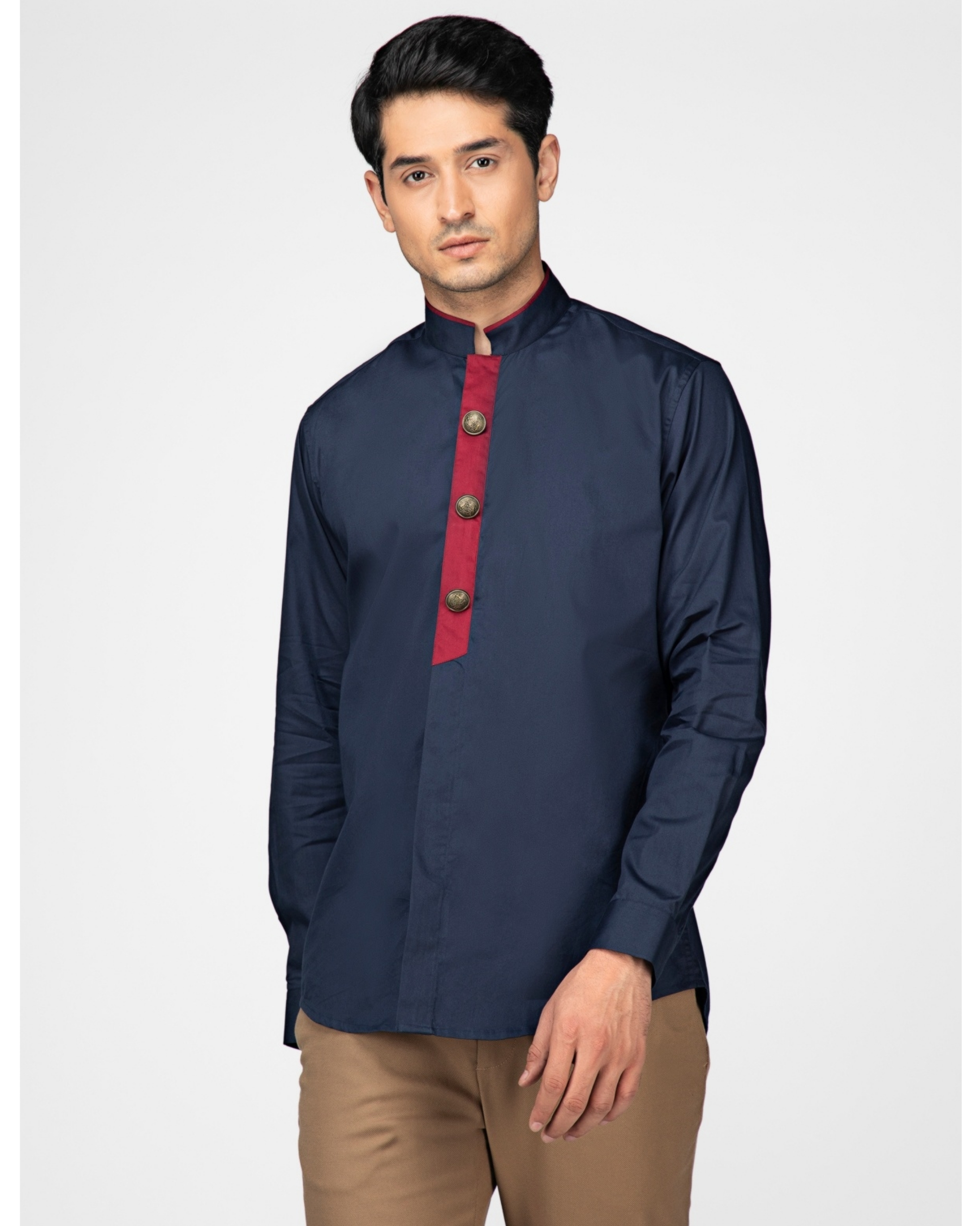Navy blue ethnic shirt with contrast panel detailing