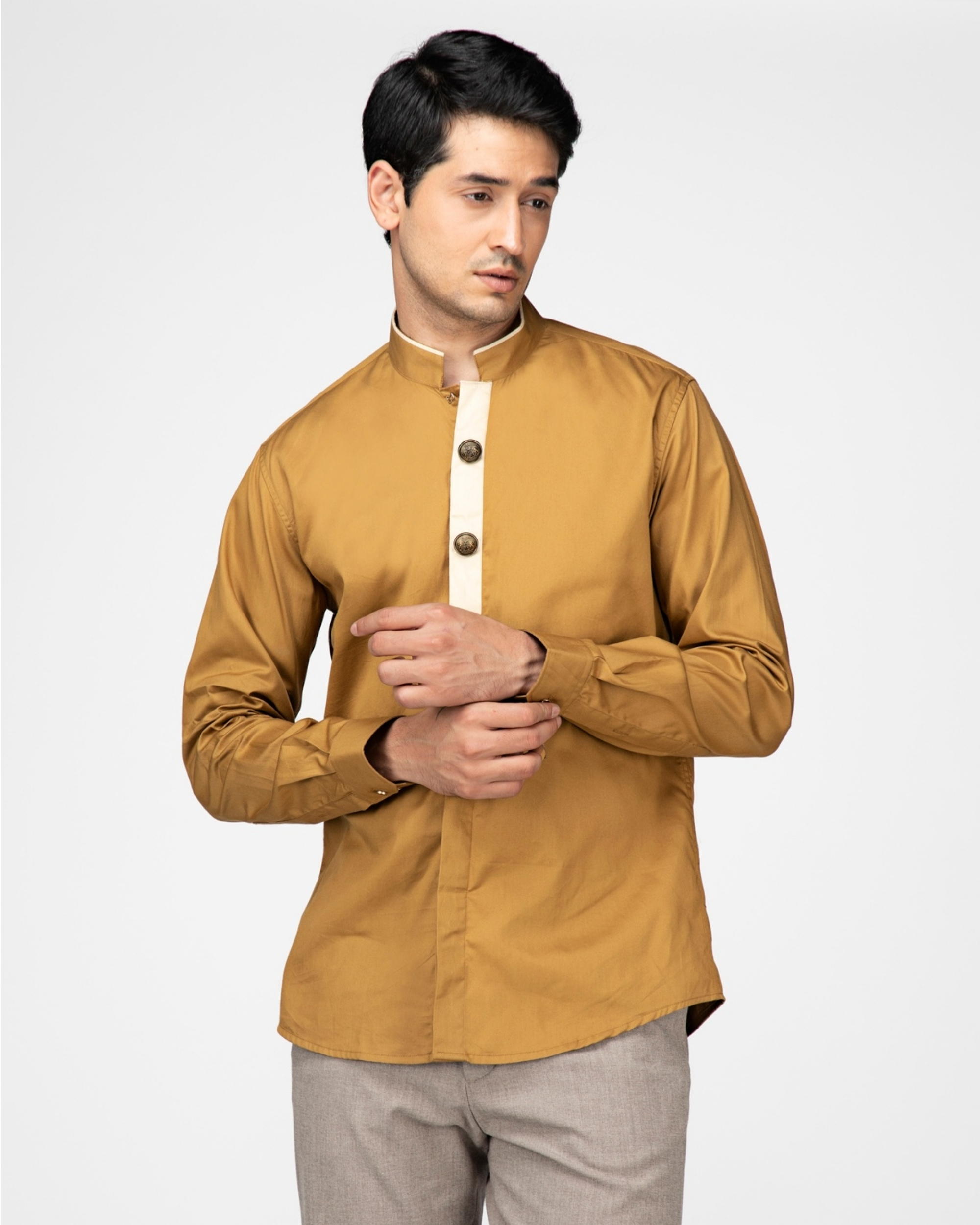Sand brown ethnic shirt with contrast panel detailing
