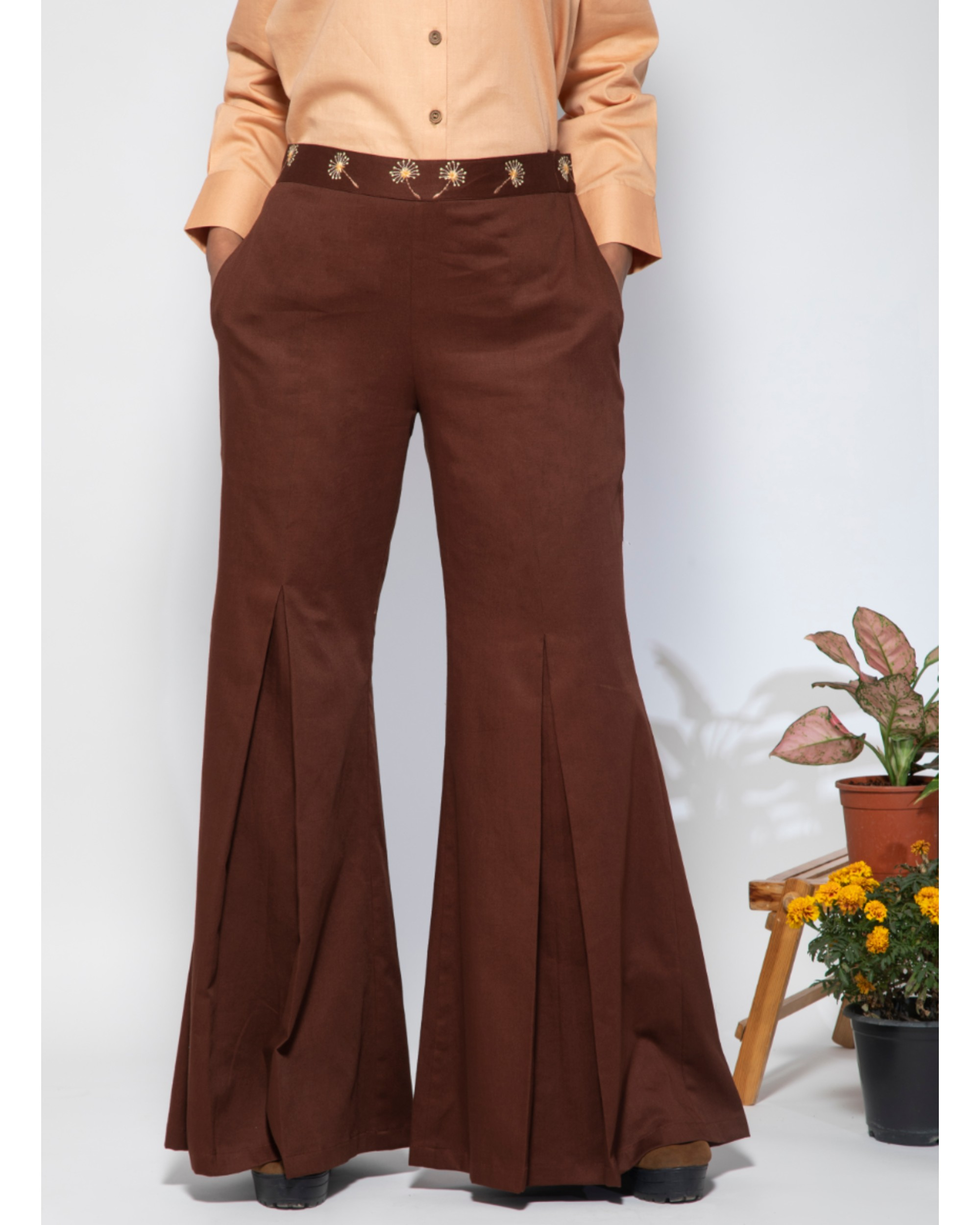 Dark brown embroidered flare pants