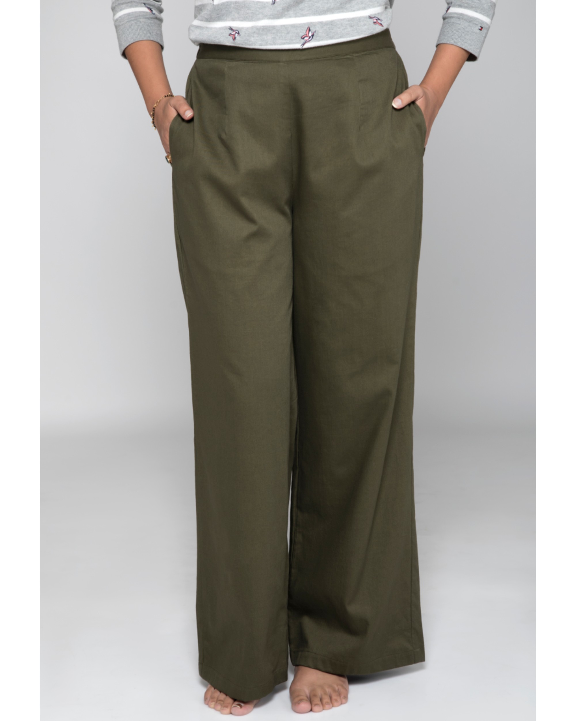 Olive green high waist pants