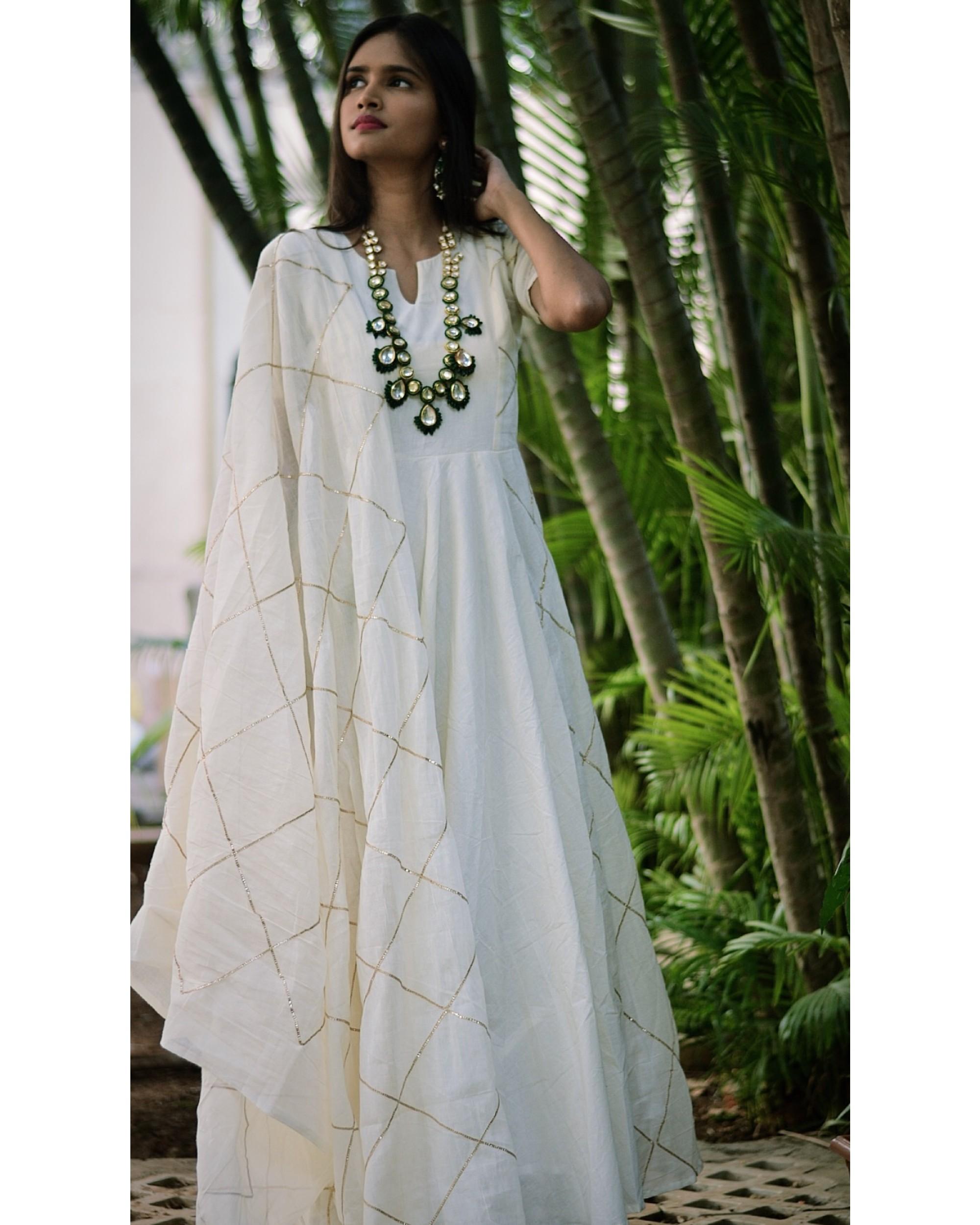 White diamond cage gota dress and dupatta set- set of two