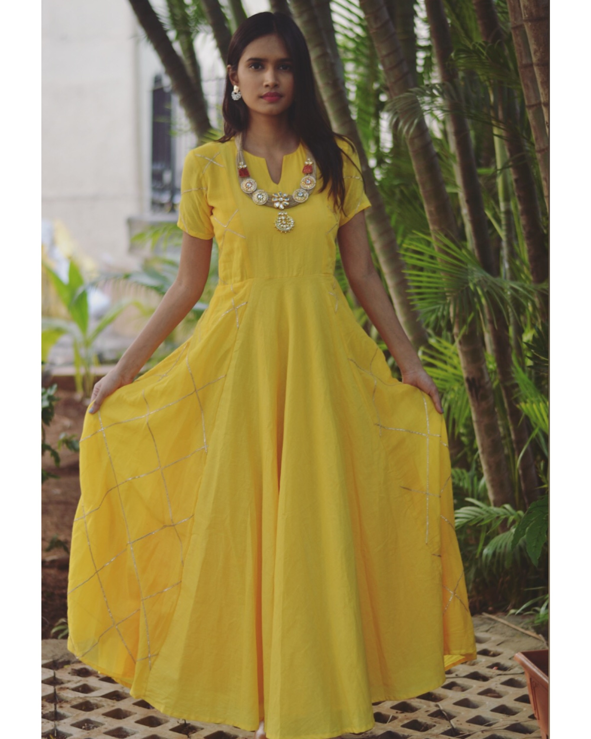 Yellow diamond cage paneled gota dress