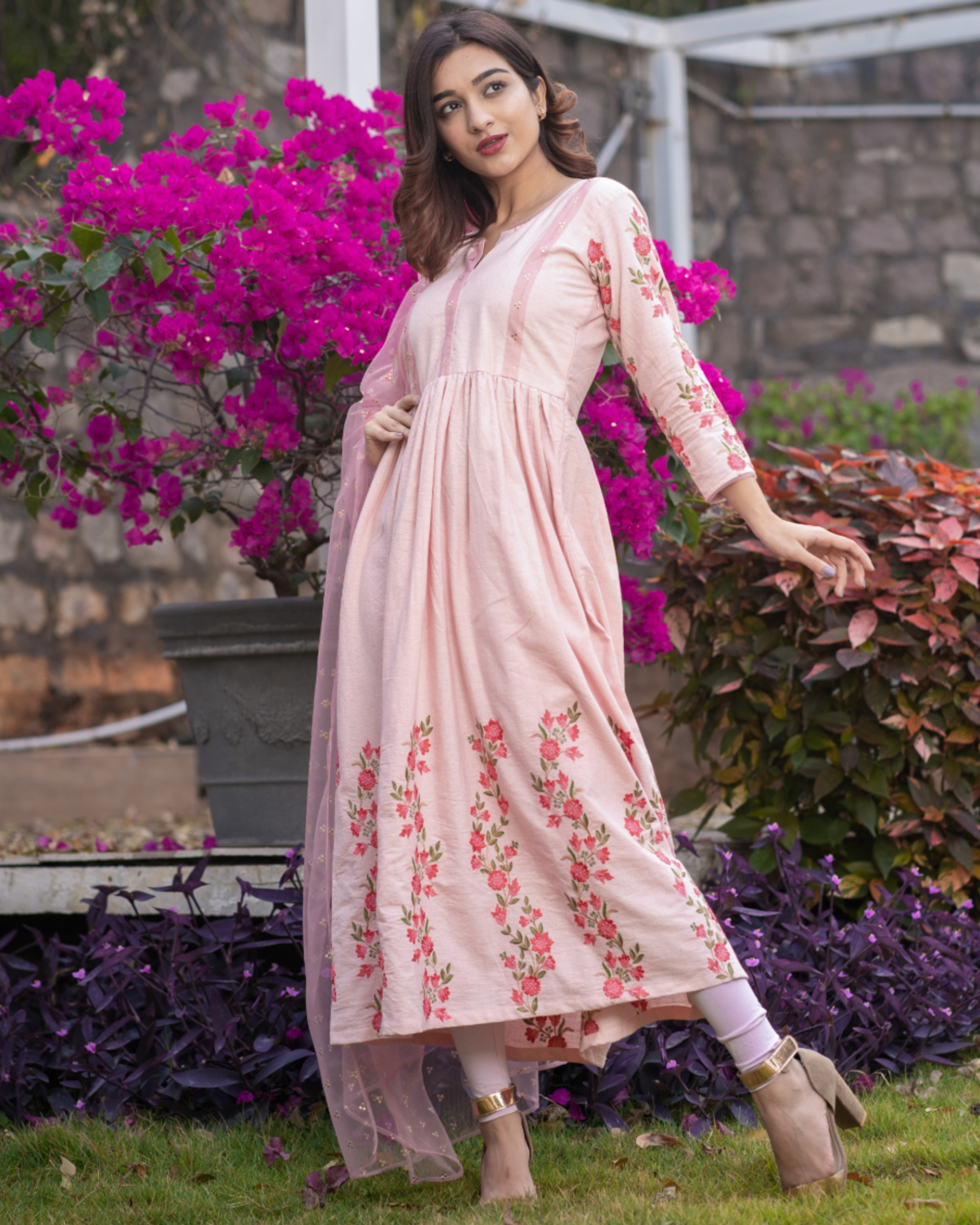Baby pink panel embroidered gathered dress with net dupatta - set of two