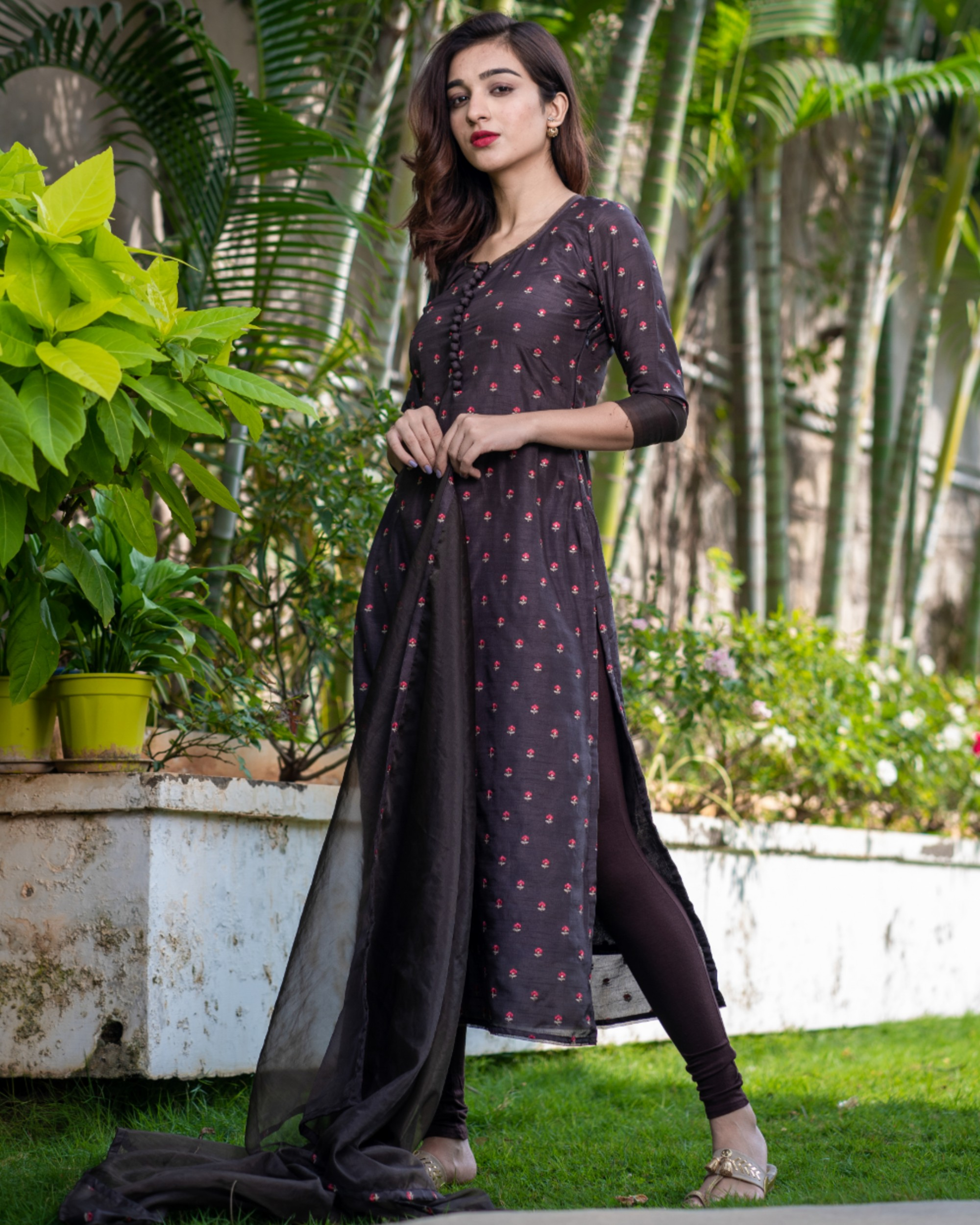 Chocolate brown embroidered kurta with organza dupatta - set of two