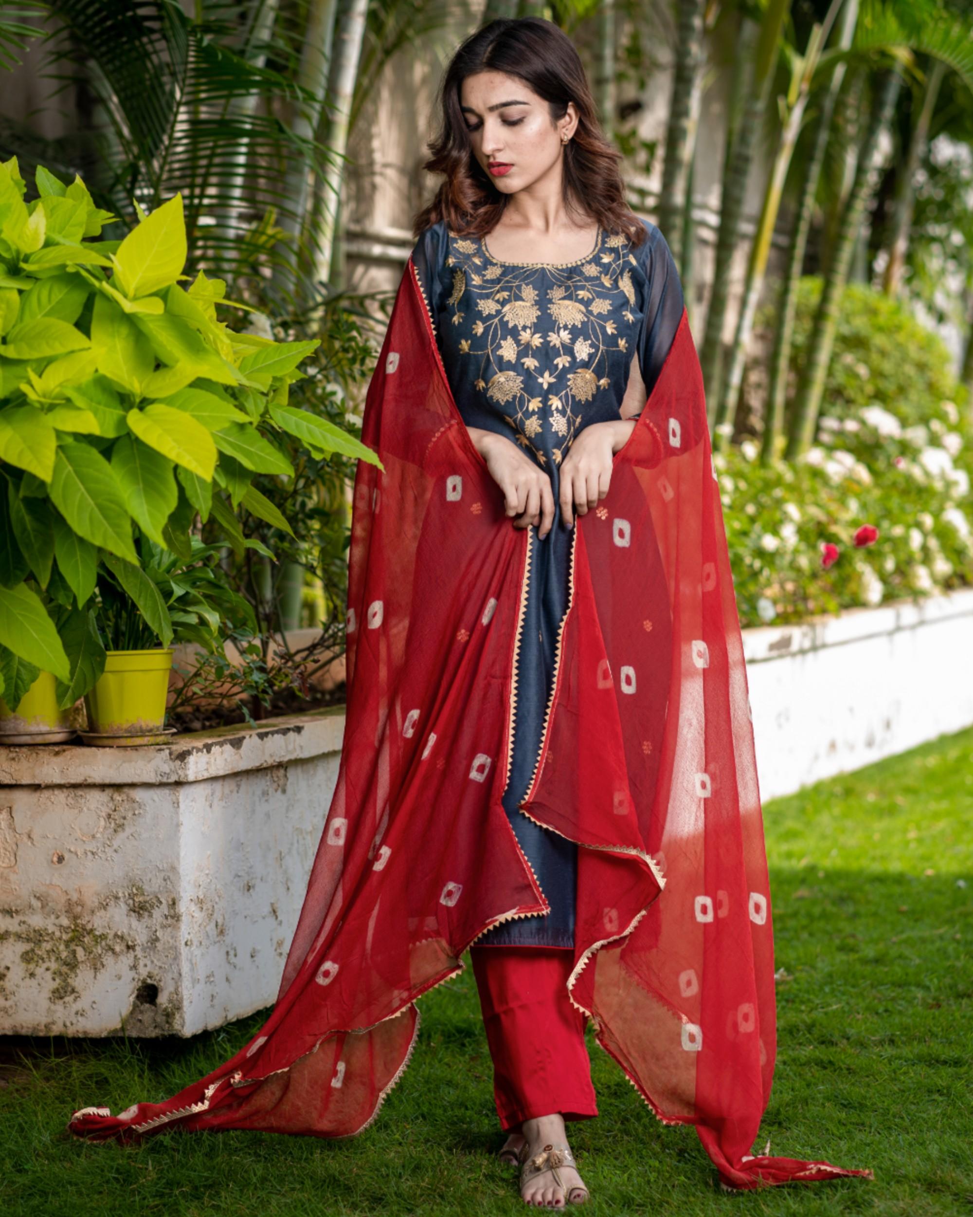 Ash grey pittan work kurta and pants with red bandhani dupatta set - set of three