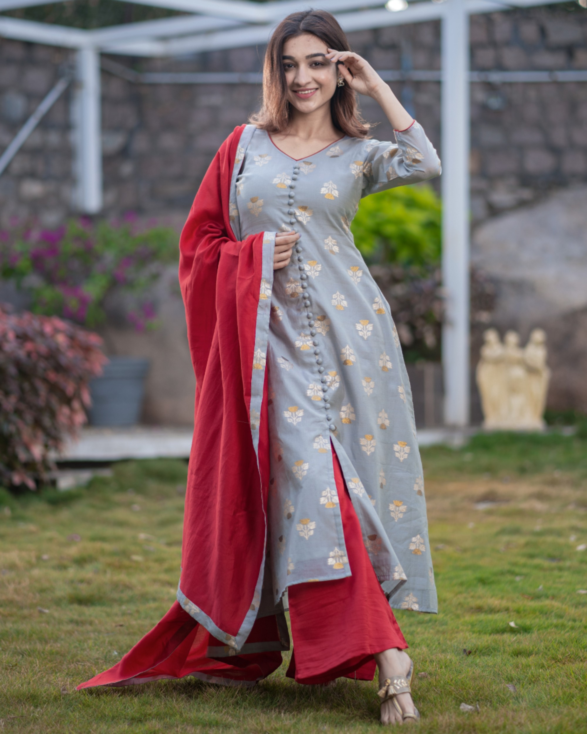 Grey front slit brocade kurta with red palazzo and dupatta - set of three