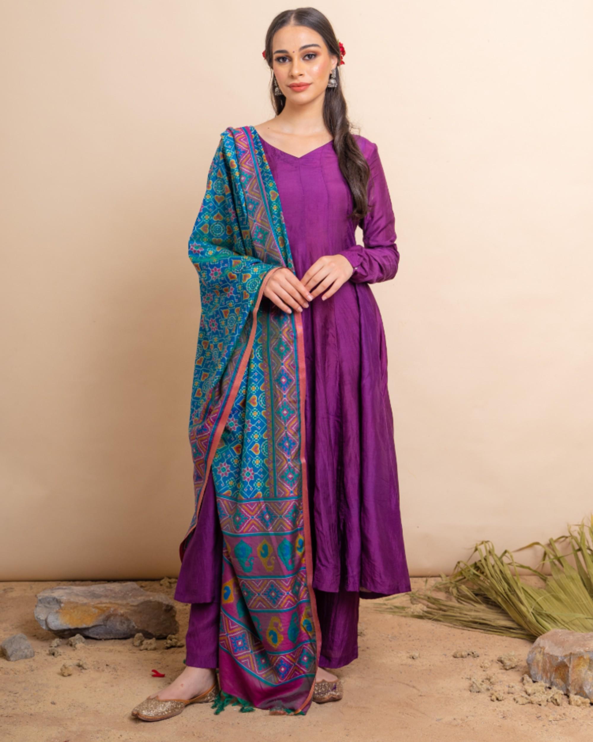 Purple flared anarkali and palazzo with blue dupatta set- set of three