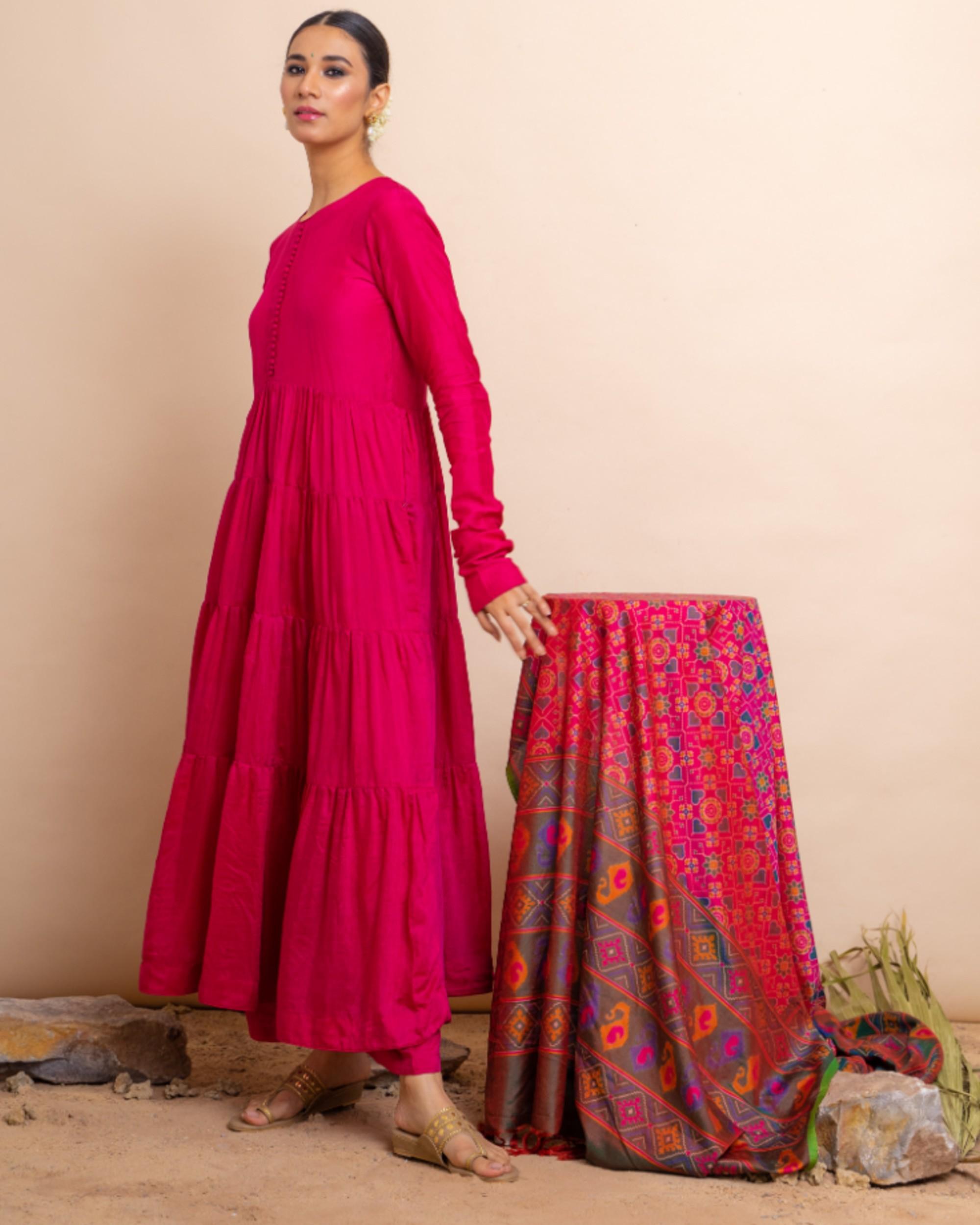 Rani pink tiered anarkali and palazzo with dupatta set- set of three