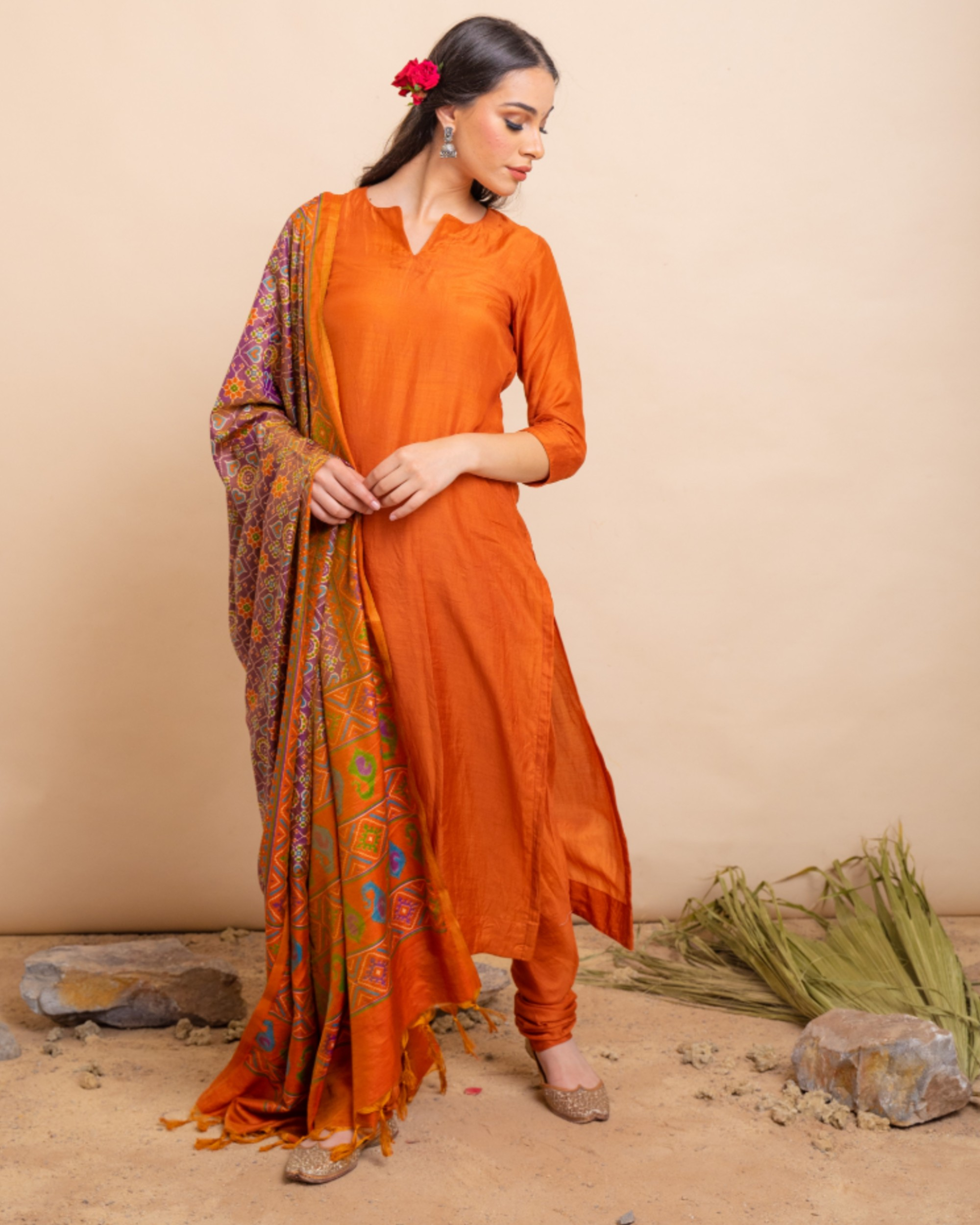 Gold orange straight kurta and pants with dupatta set- set of three