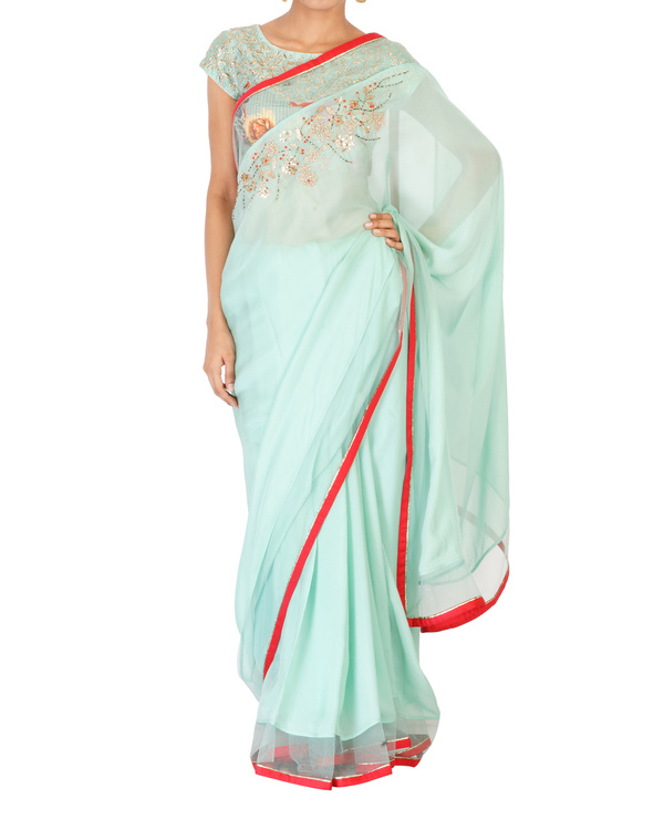 Soft sea green sari with printed blouse