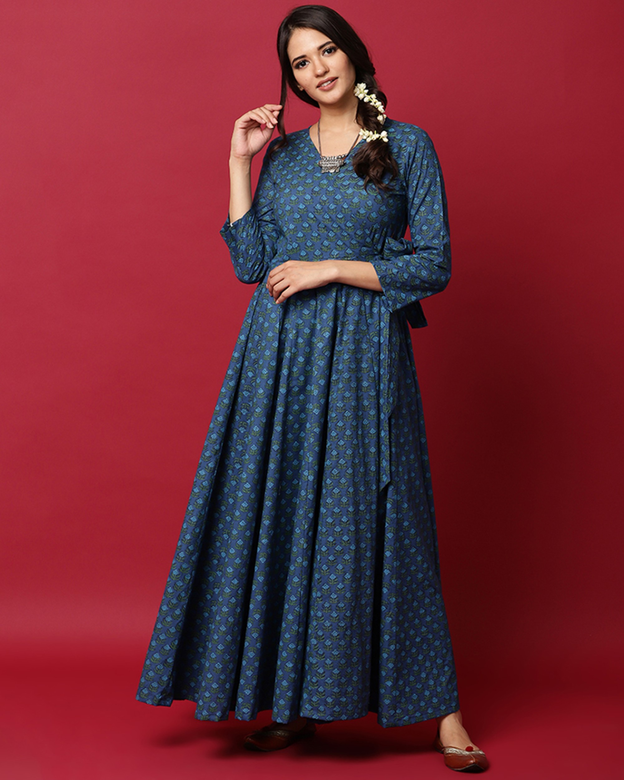 Blue floral printed angrakha dress