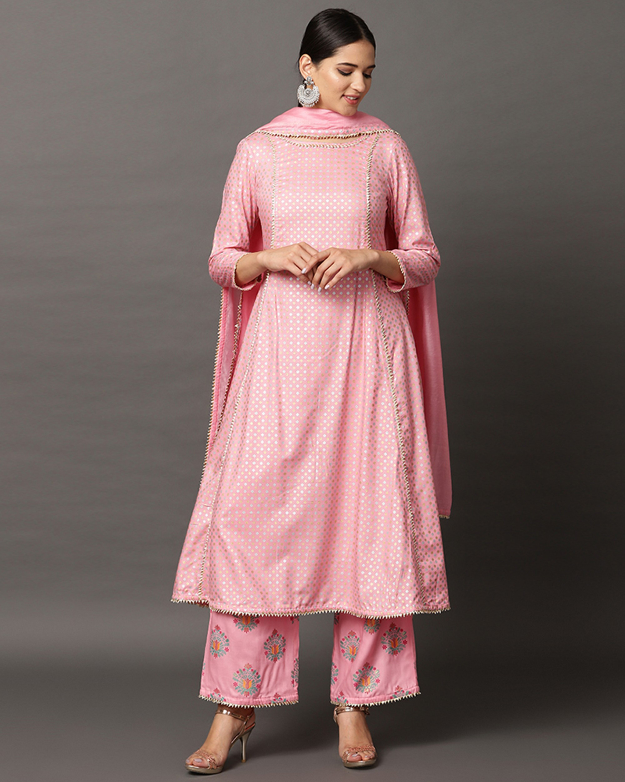 Baby pink gota anarkali and printed palazzo with dupatta set- set of three