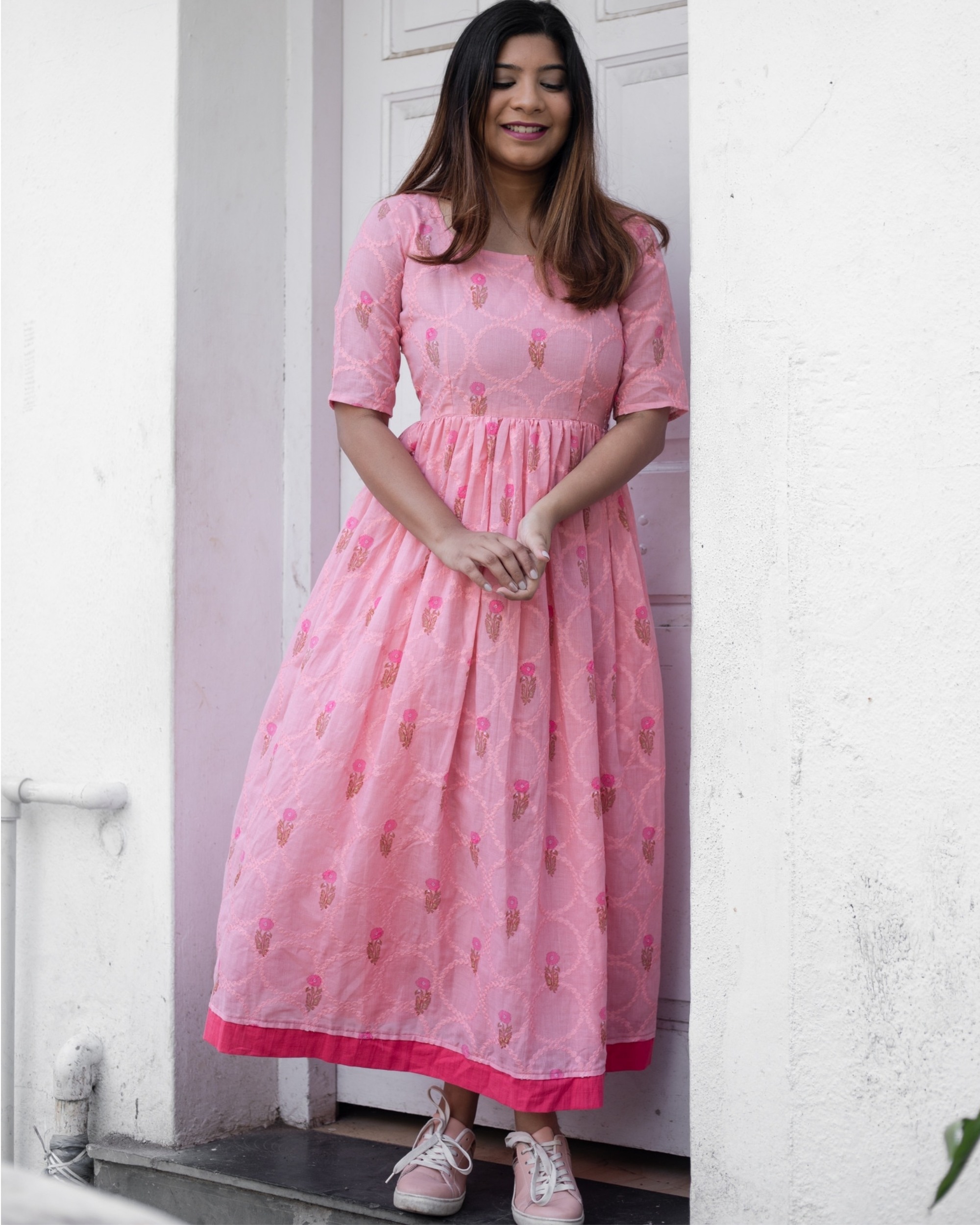 Taffy pink floral embroidered dress