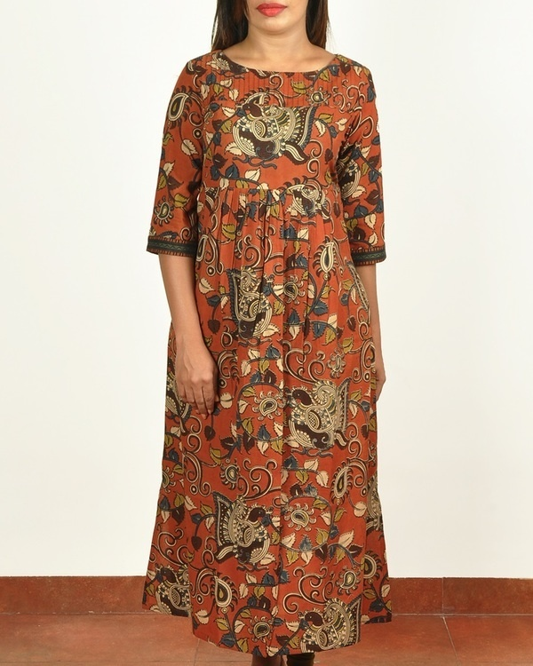 Rust kalamkari printed cotton long kurti