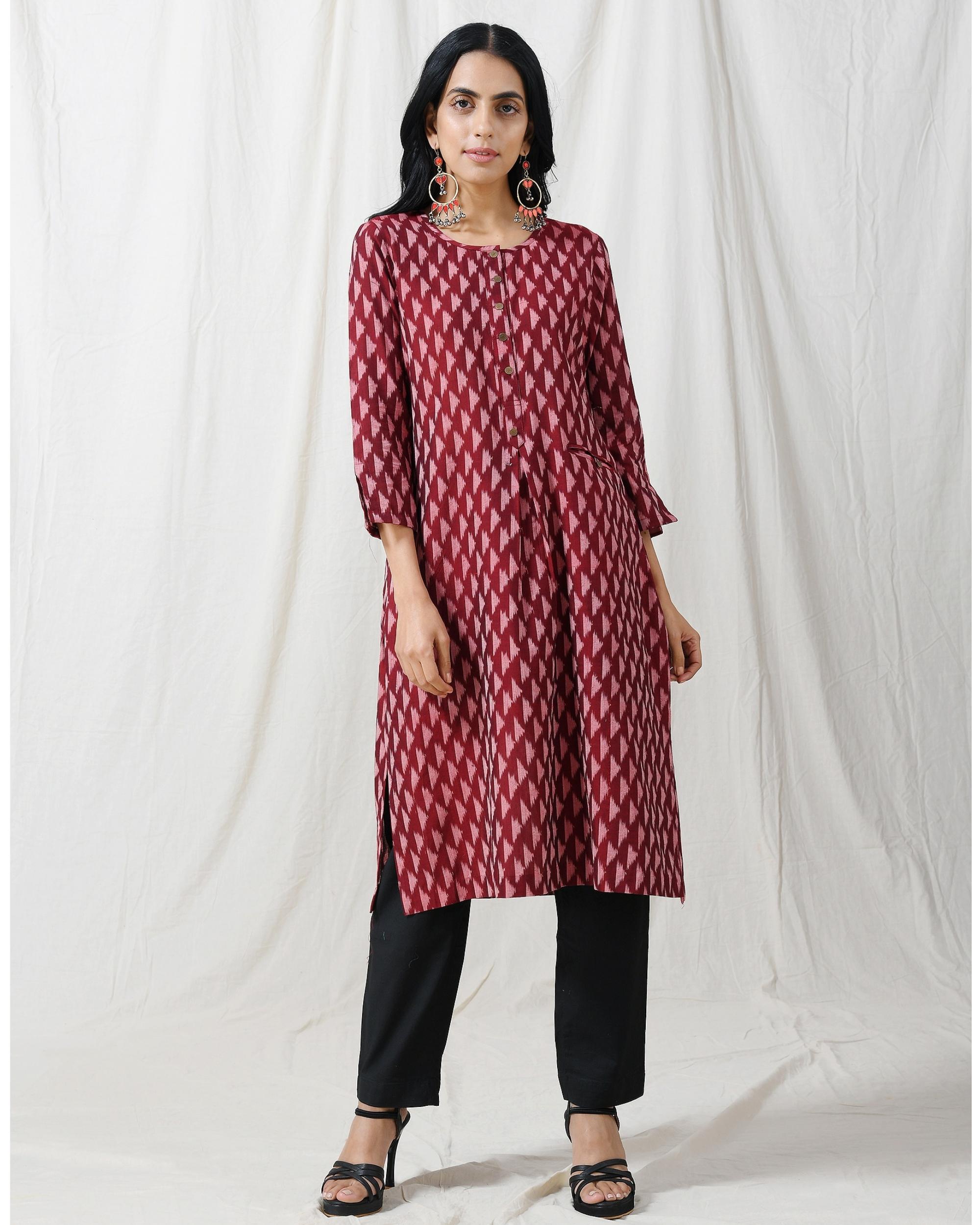 Brown ikat buttoned kurta with pocket
