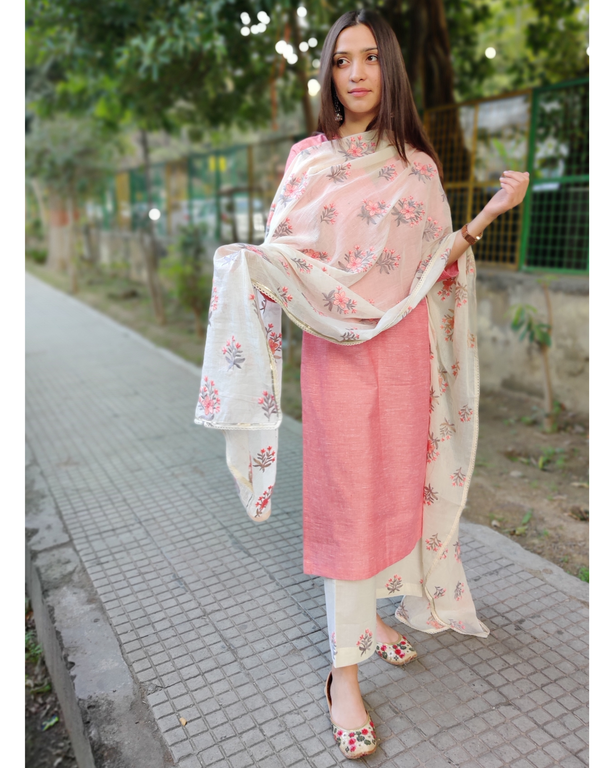 Peach and White Cotton Suit Set with Embroidered Dupatta - Set of Three