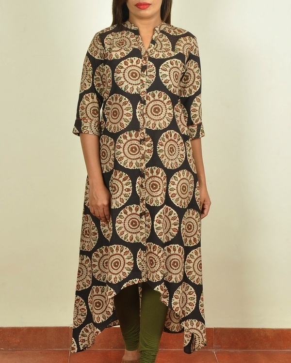 Black block printed asymmetrical kurti