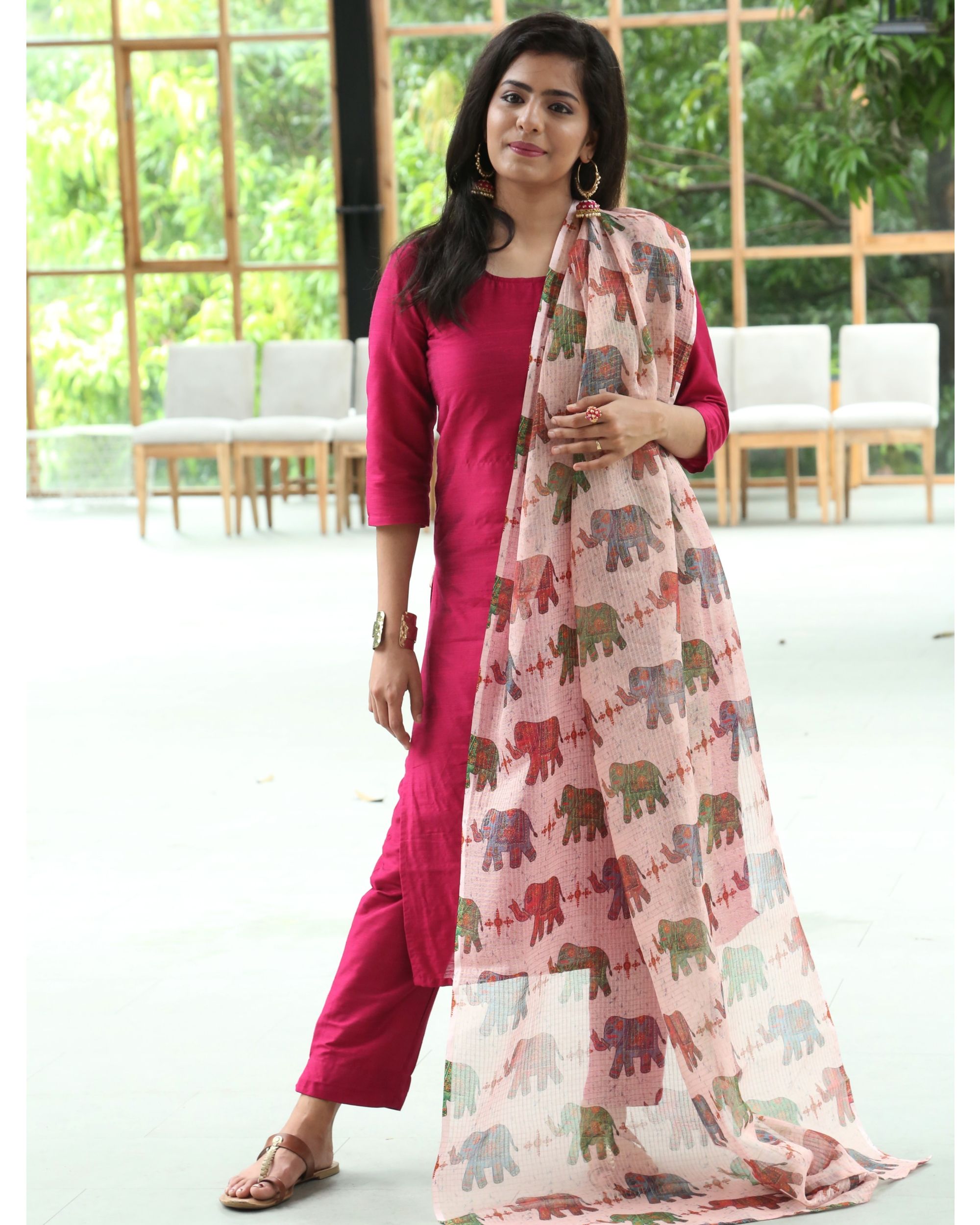 Cherry red kurta and pants with elephant printed dupatta - set of three