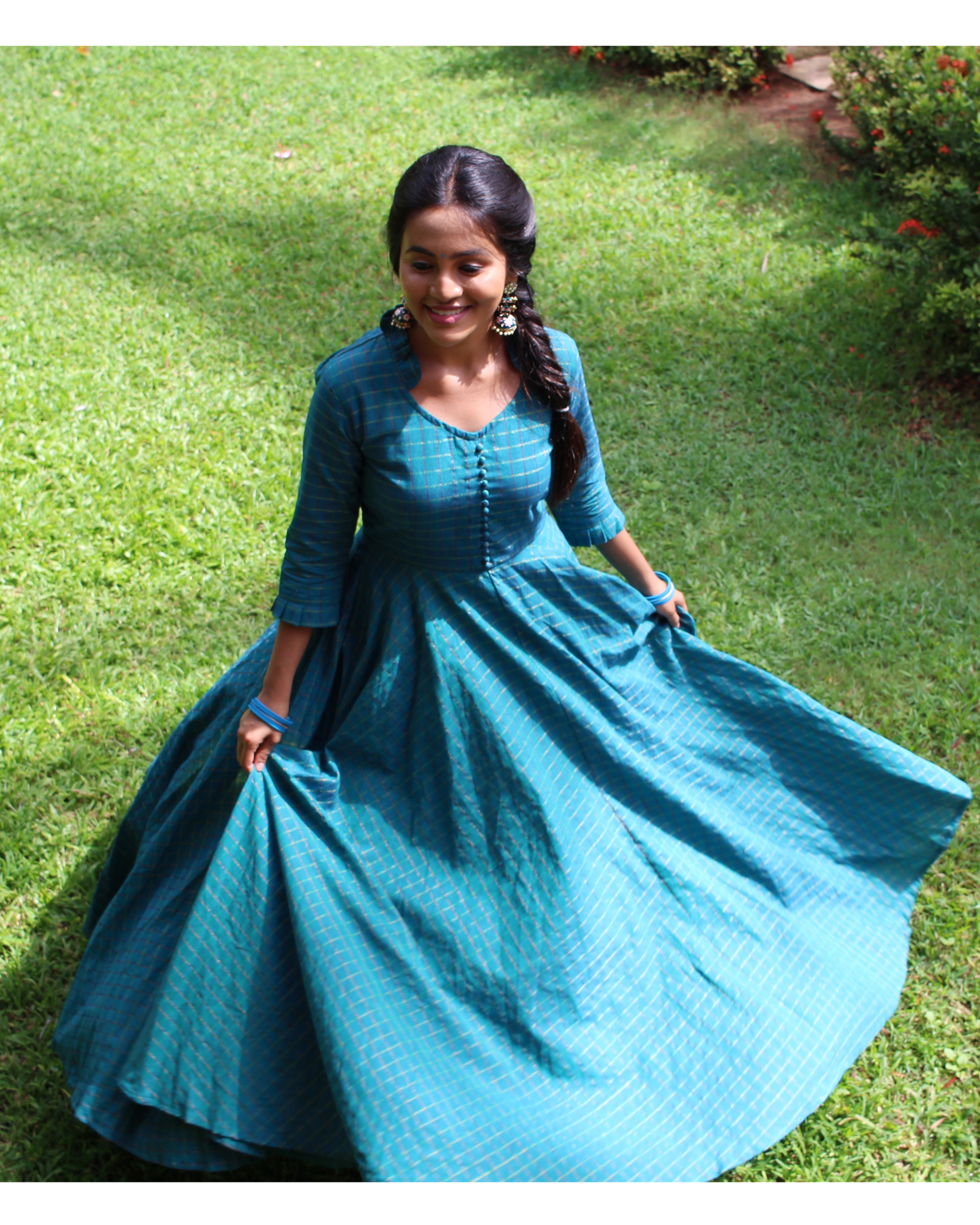 Blue checkered handloom anarkali dress