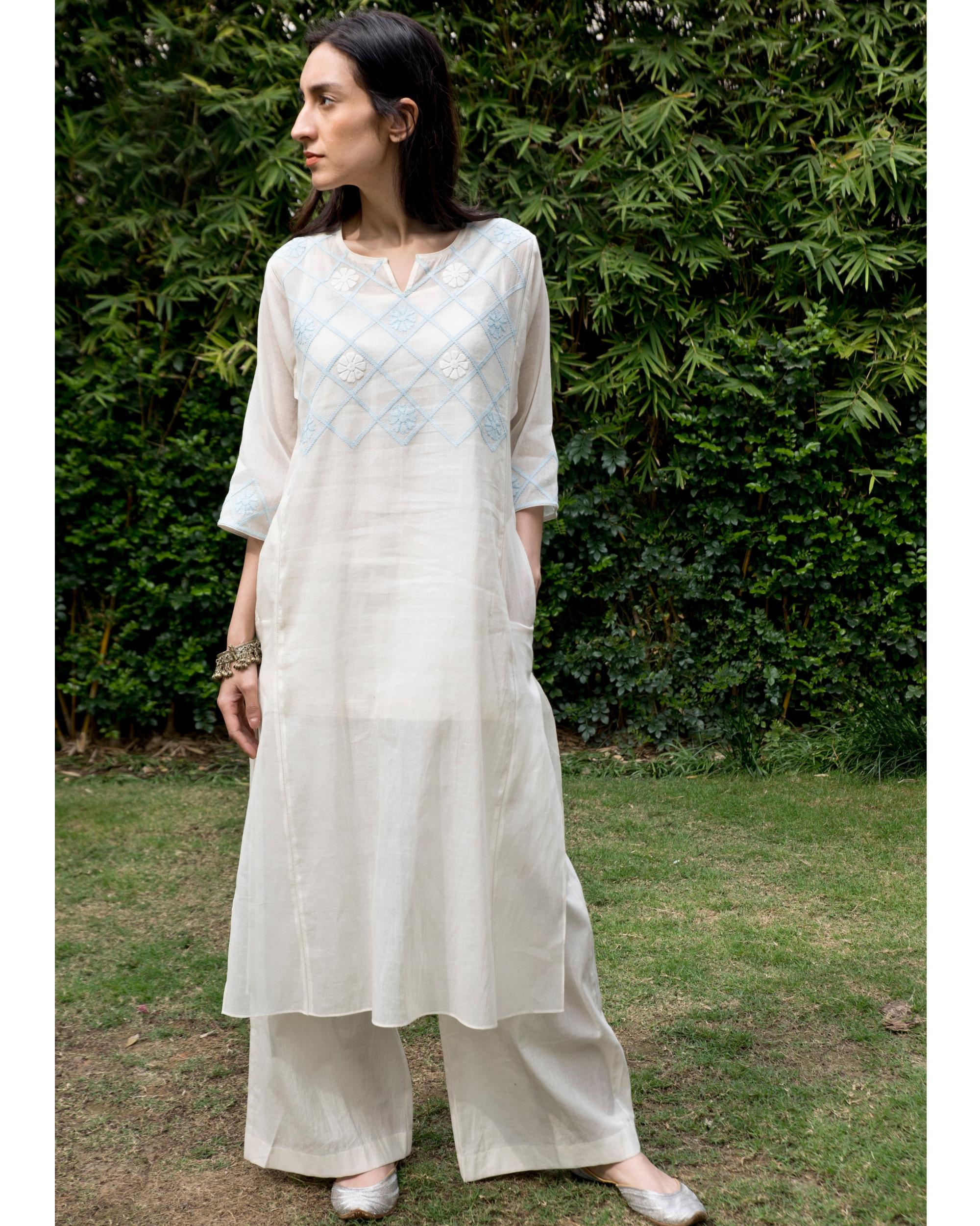 Off white and powder blue checkered yoke kalidar kurta