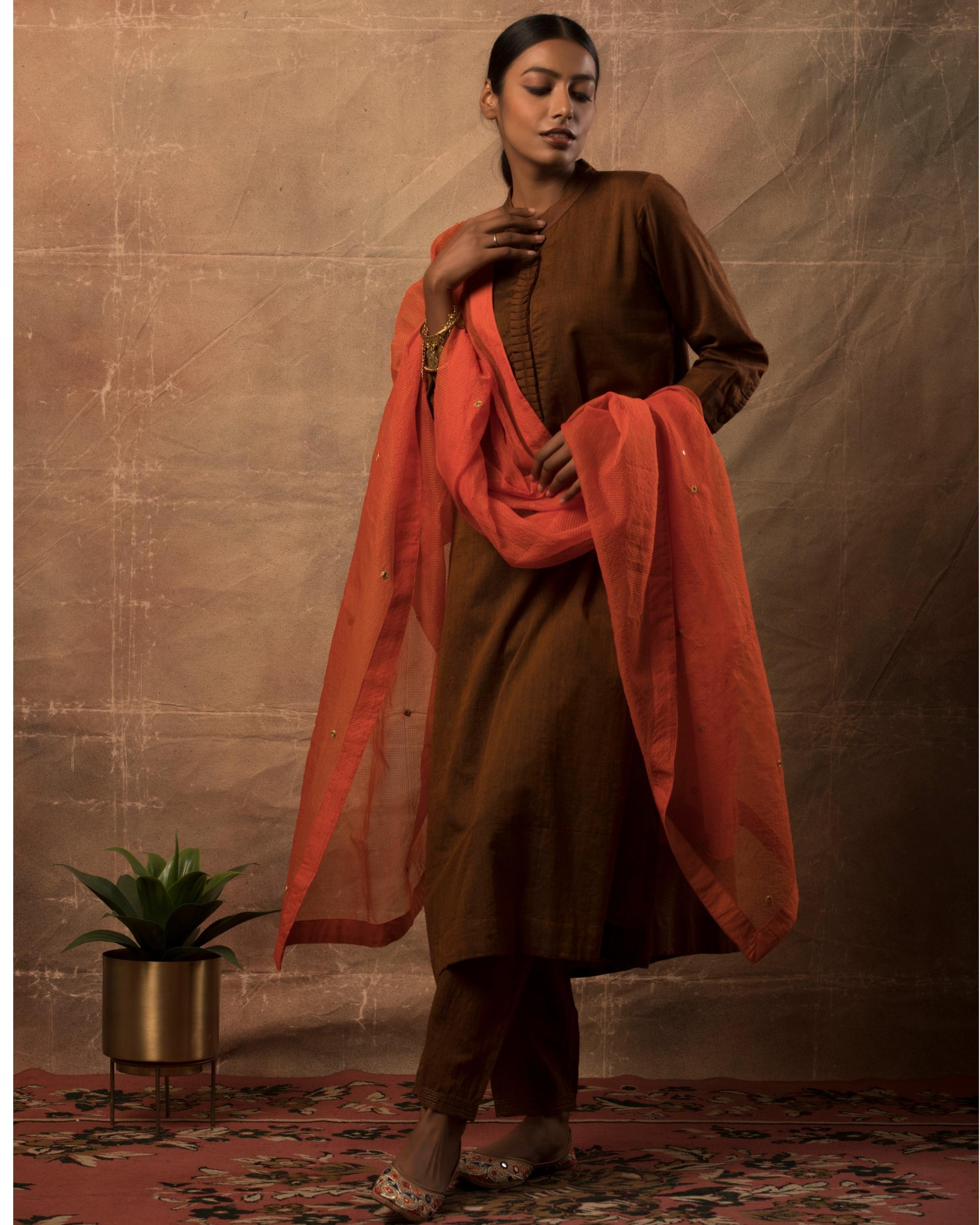 Dark brown kurta and pants with orange dupatta set- set of three