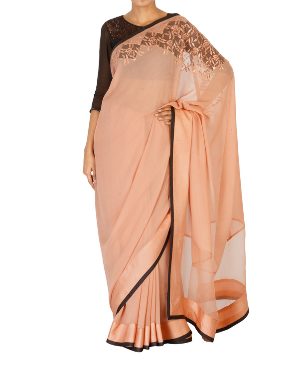 Soft pink crystal work sari with coffee blouse