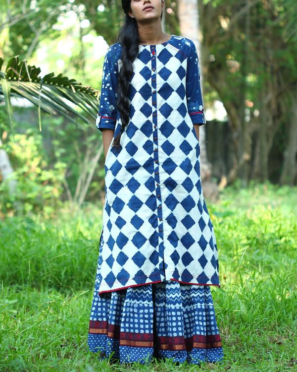 Indigo checkered kurta